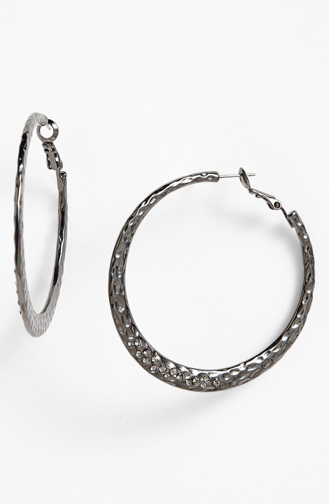 Alternate Image 1 Selected - Sequin Small Hammered Hoop Earrings