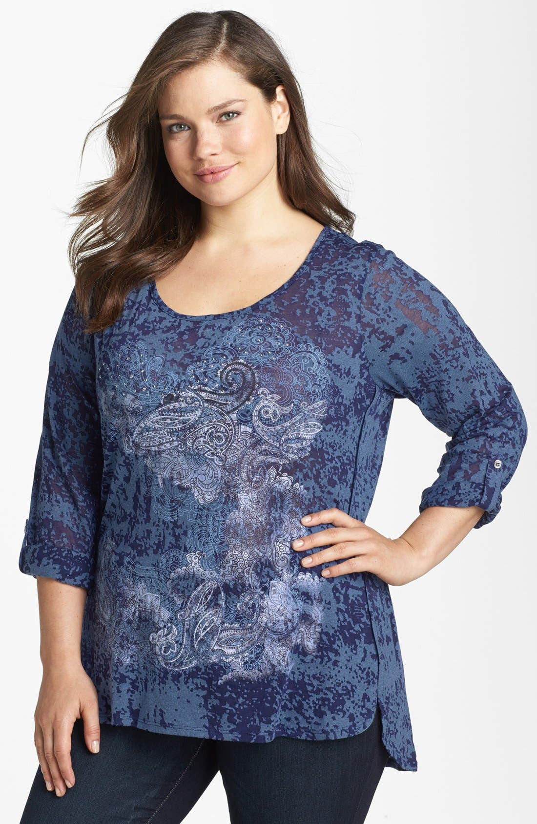 Alternate Image 1 Selected - Madison & Berkeley Print Burnout Tee (Plus Size)
