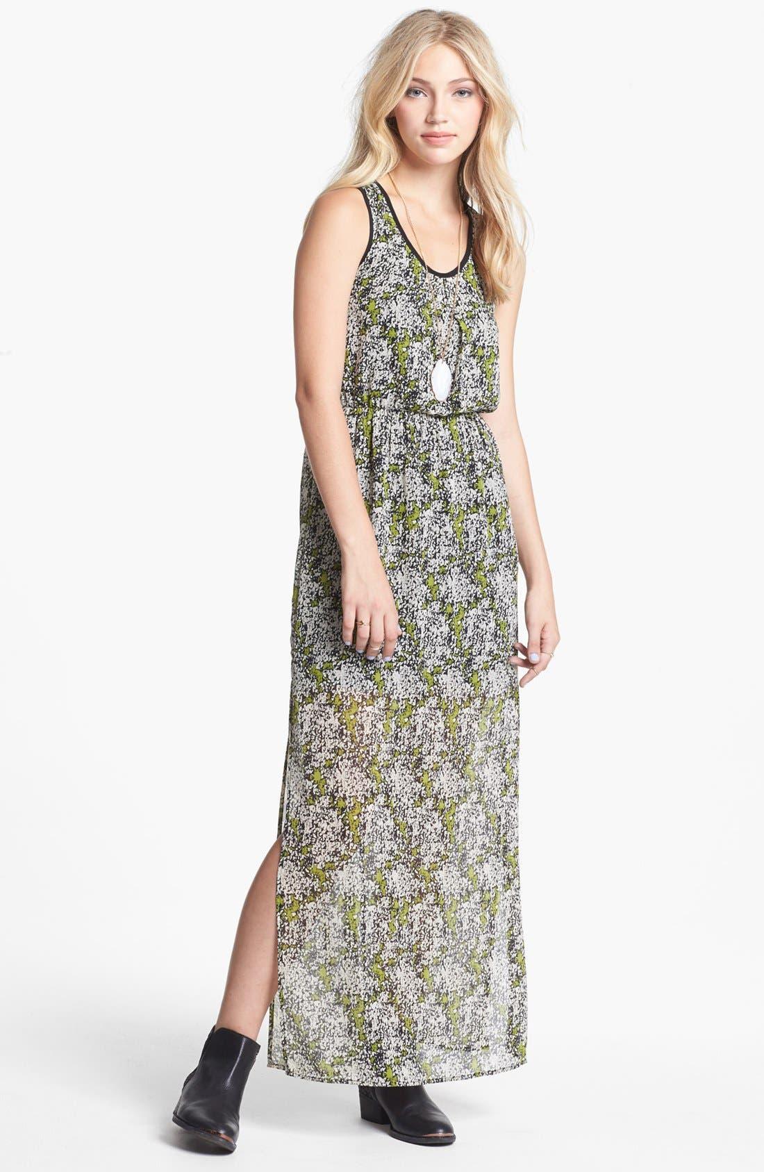 Alternate Image 1 Selected - dee elle Cutout Print Racerback Maxi Dress (Juniors)