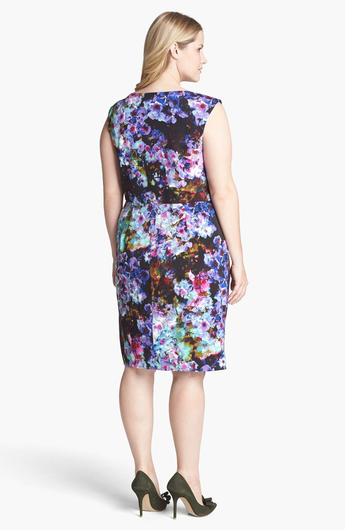 Alternate Image 2  - Ivy & Blu Print Satin Sheath Dress (Plus Size)