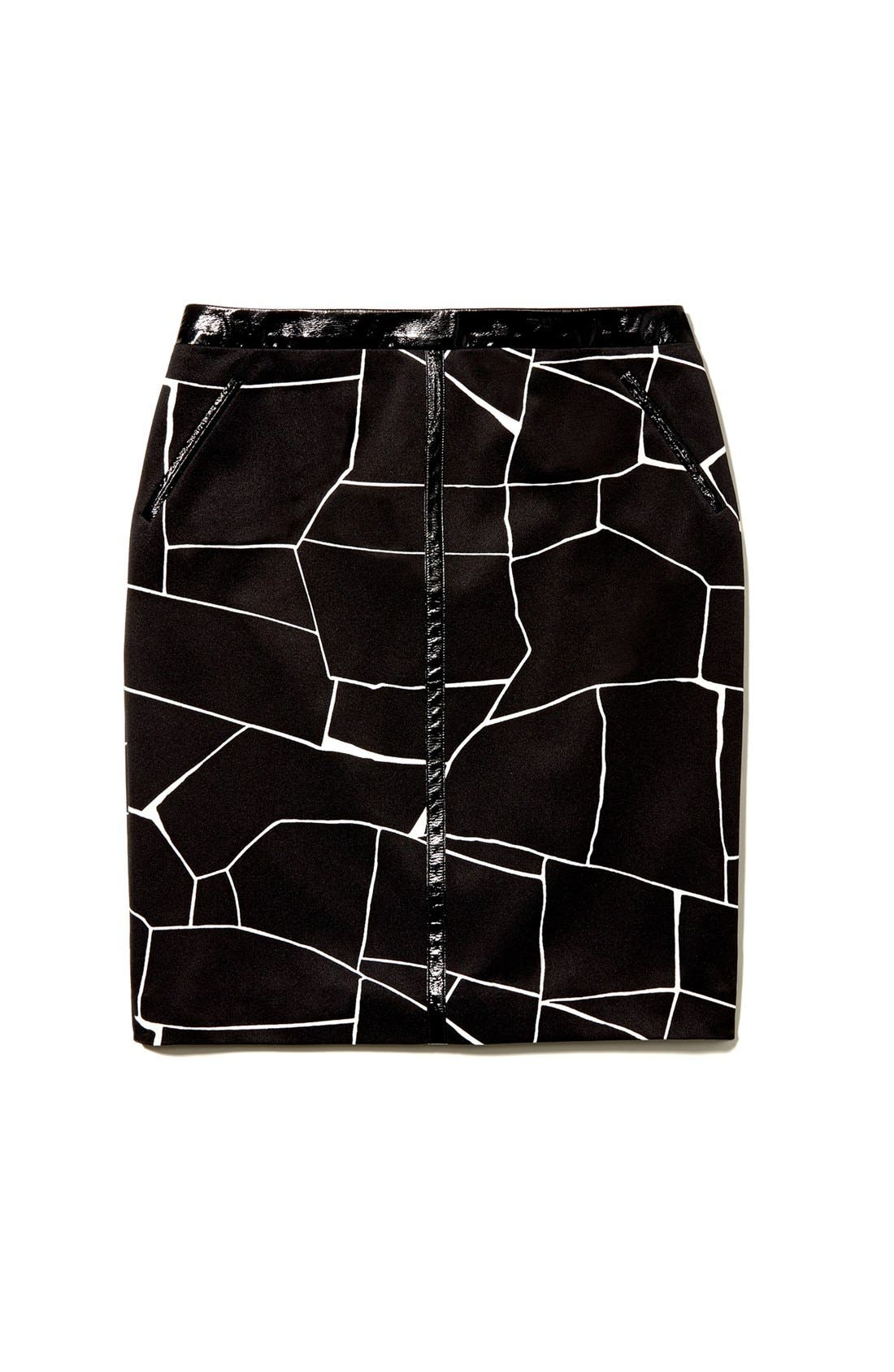 Alternate Image 6  - Vince Camuto Faux Patent Leather Trim Print Pencil Skirt