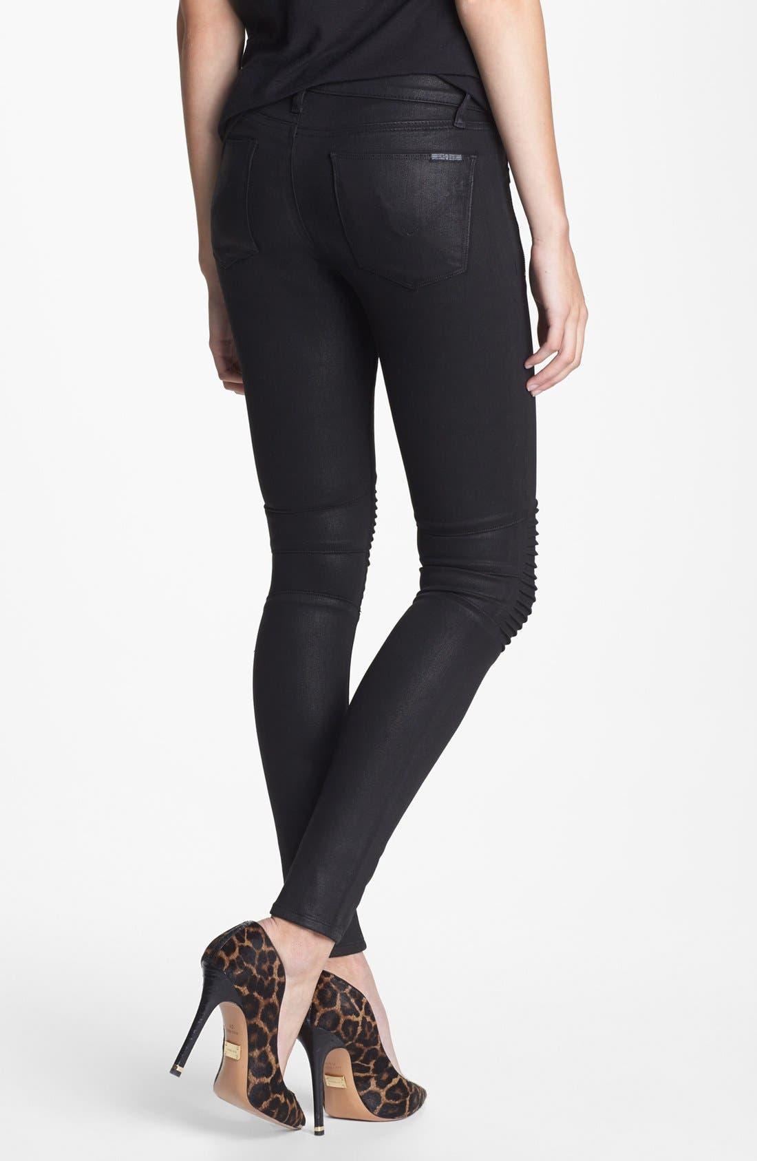 Alternate Image 2  - Hudson Jeans 'Stark' Moto Skinny Jeans (Jet Black)