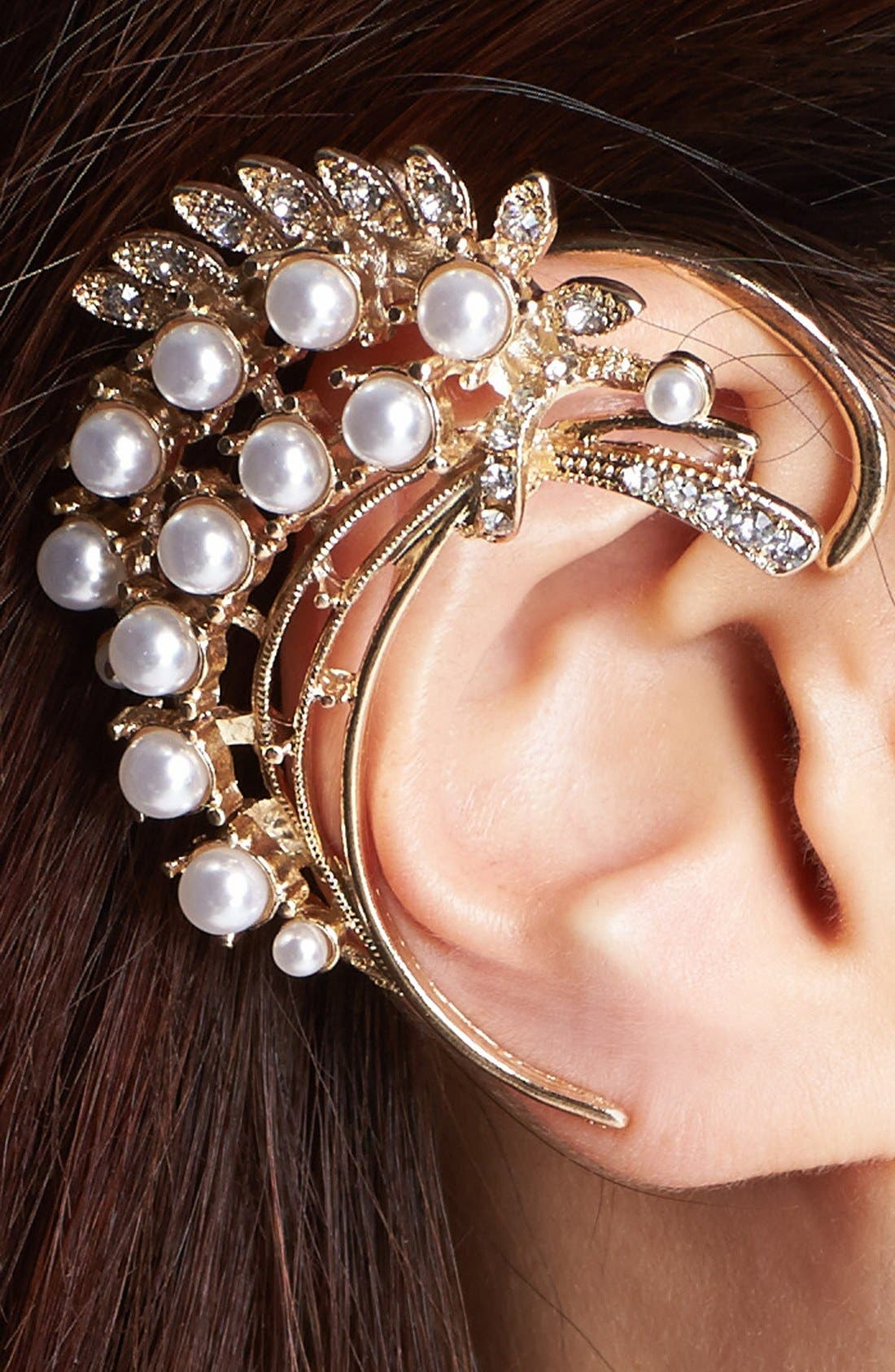 Alternate Image 2  - Tildon Faux Pearl & Stone Ear Cuff