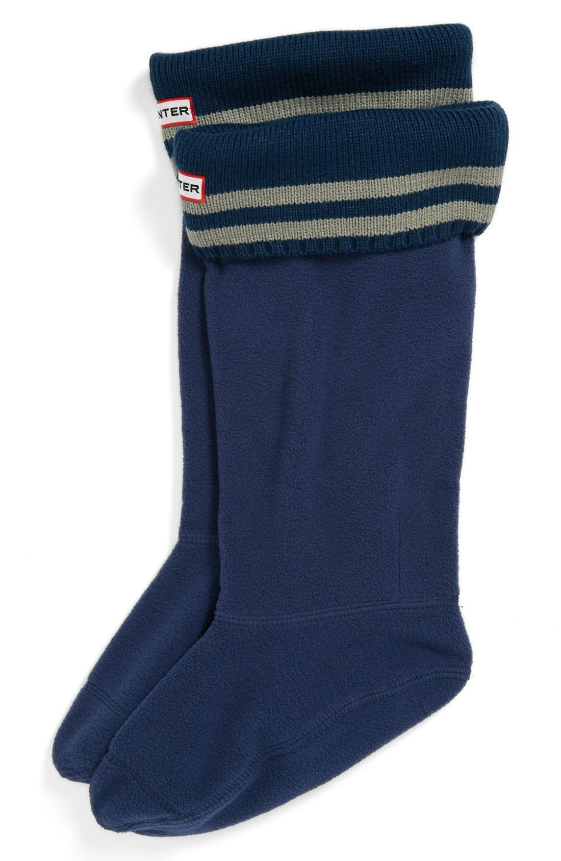 Main Image - Hunter Tall Stripe Cuff Welly Socks