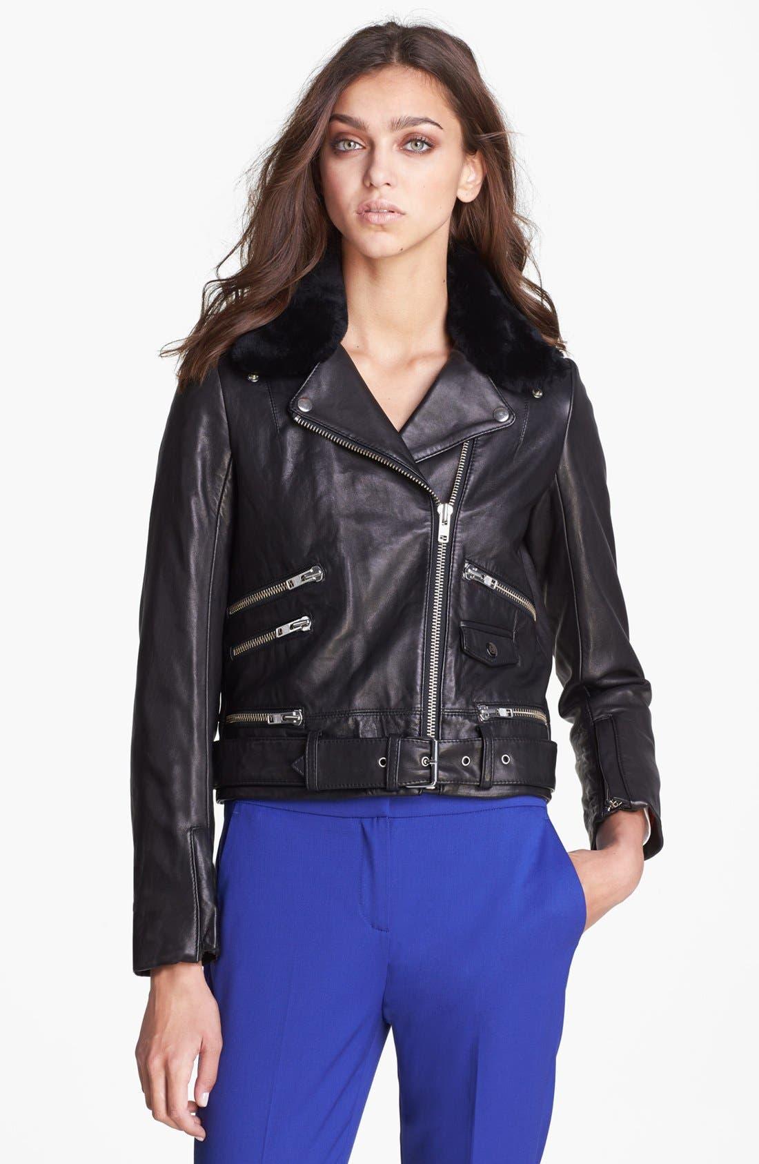 Alternate Image 6  - The Kooples Leather Biker Jacket with Genuine Fur Collar