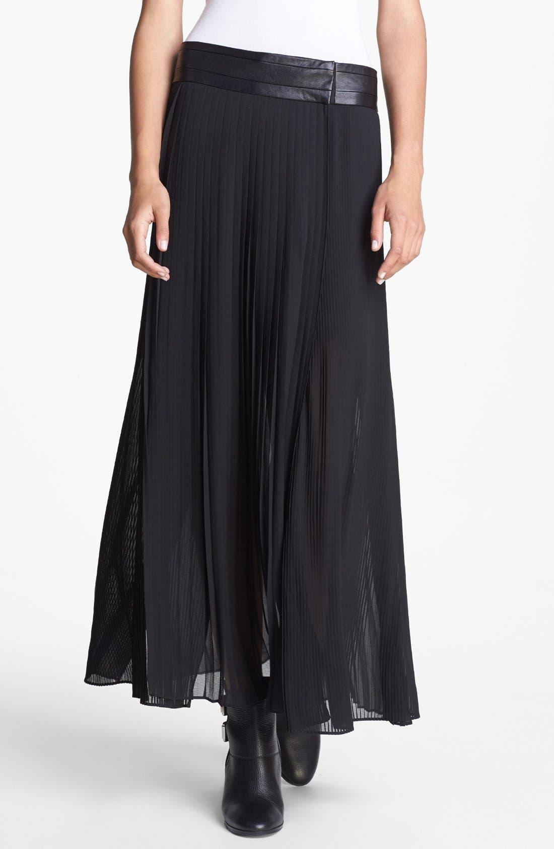 Main Image - The Kooples Pleated Chiffon Maxi Skirt