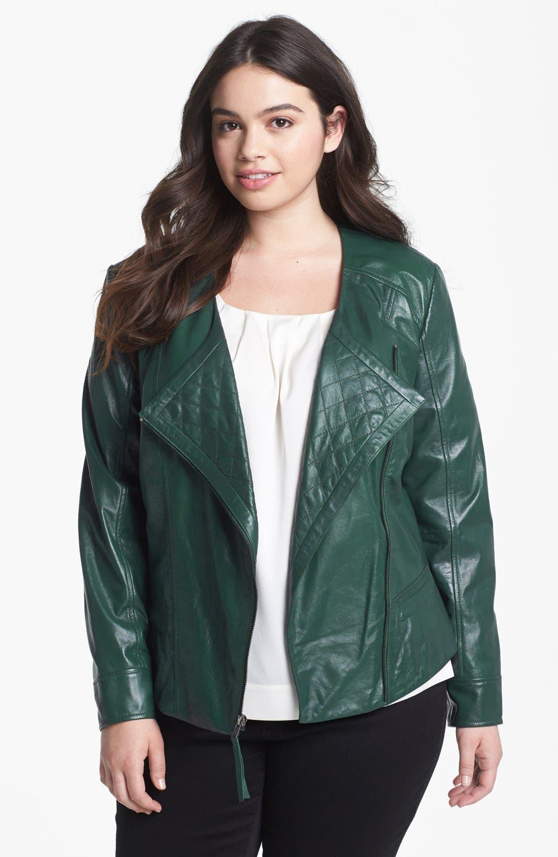 Main Image - Halogen® Quilted Lapel Leather Moto Jacket (Plus Size)