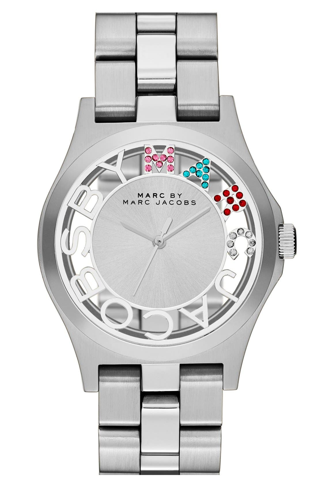 Alternate Image 1 Selected - MARC JACOBS 'Henry Skeleton Glitz' Bracelet Watch, 40mm