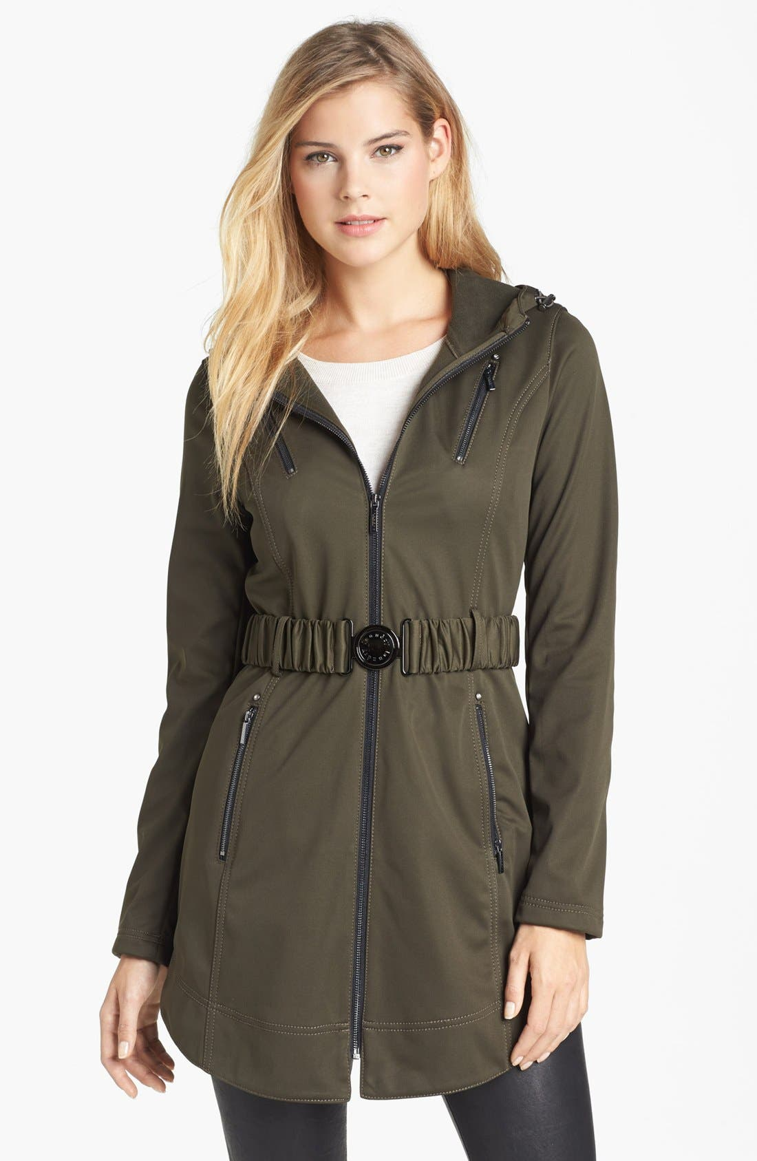 Alternate Image 1  - Laundry by Shelli Segal Hooded Soft Shell Jacket (Online Only)