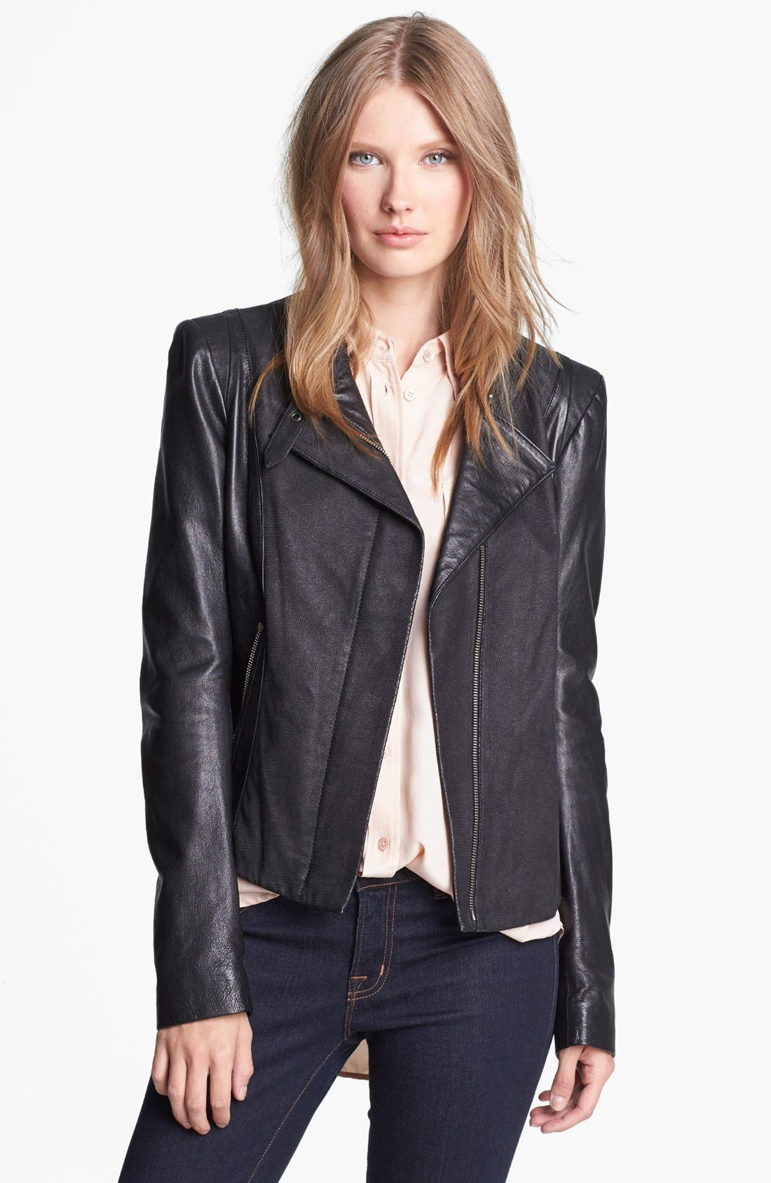 Alternate Image 1 Selected - Andrew Marc Mixed Leather Moto Jacket