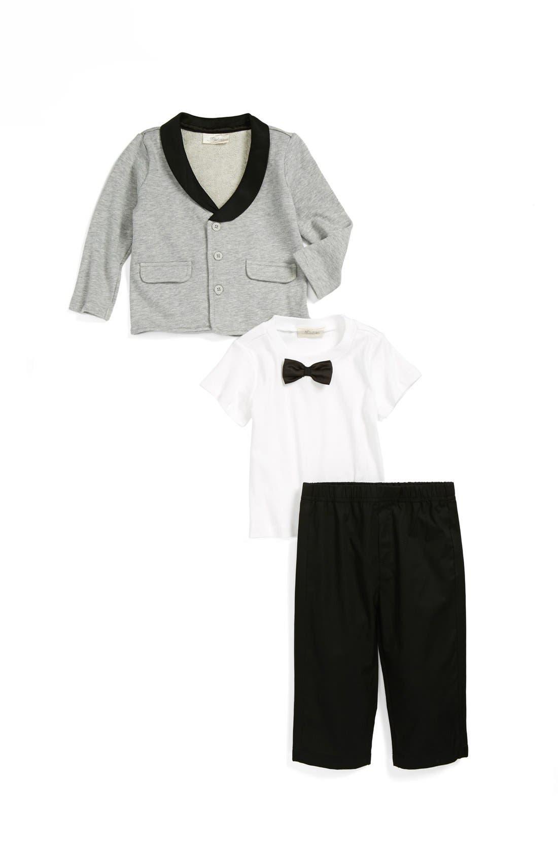 Alternate Image 1 Selected - Miniclasix Jacket, T-Shirt & Pants (Baby Boys)