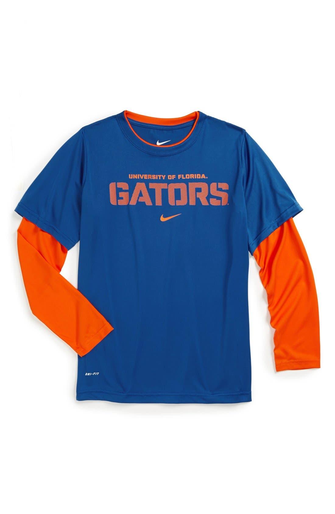Main Image - Nike 'University of Florida Gators' Dri-FIT Layered Sleeve Sport T-Shirt (Big Boys)