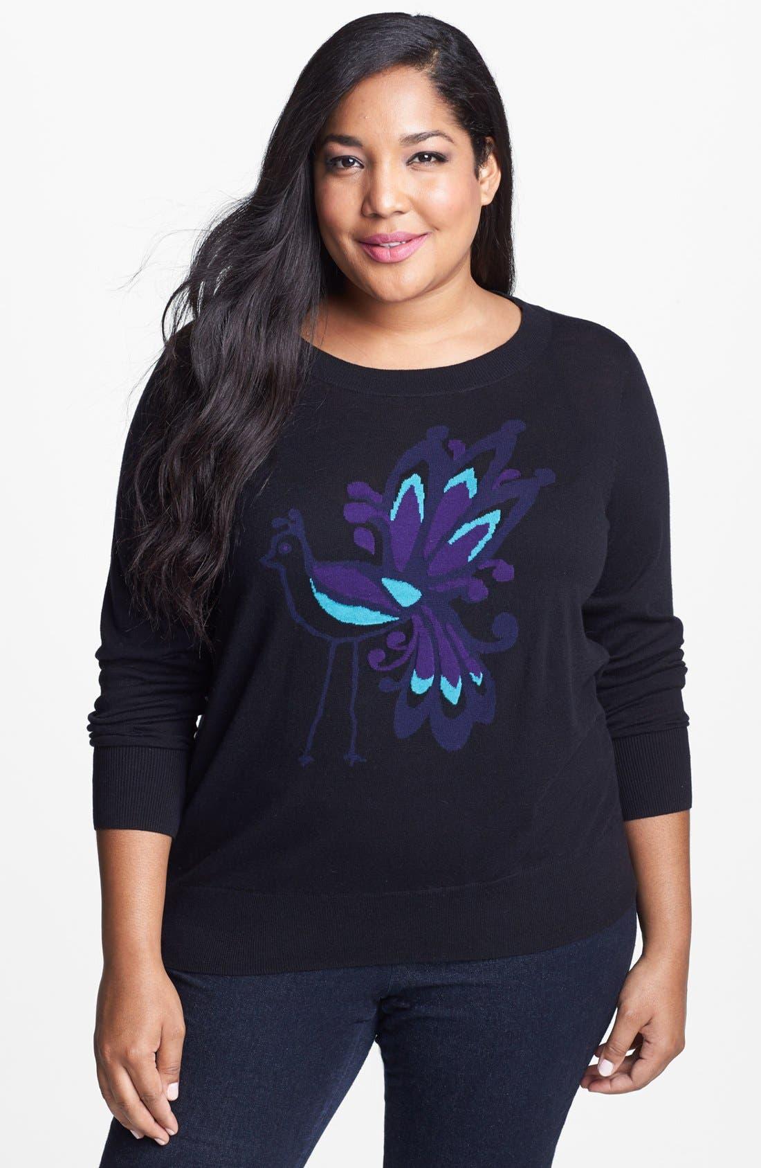 Alternate Image 1 Selected - Halogen® Crewneck Sweater (Plus Size)