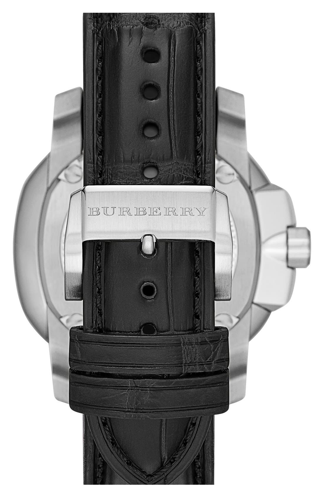 Alternate Image 2  - Burberry The Britain Automatic Alligator Strap Watch, 47mm