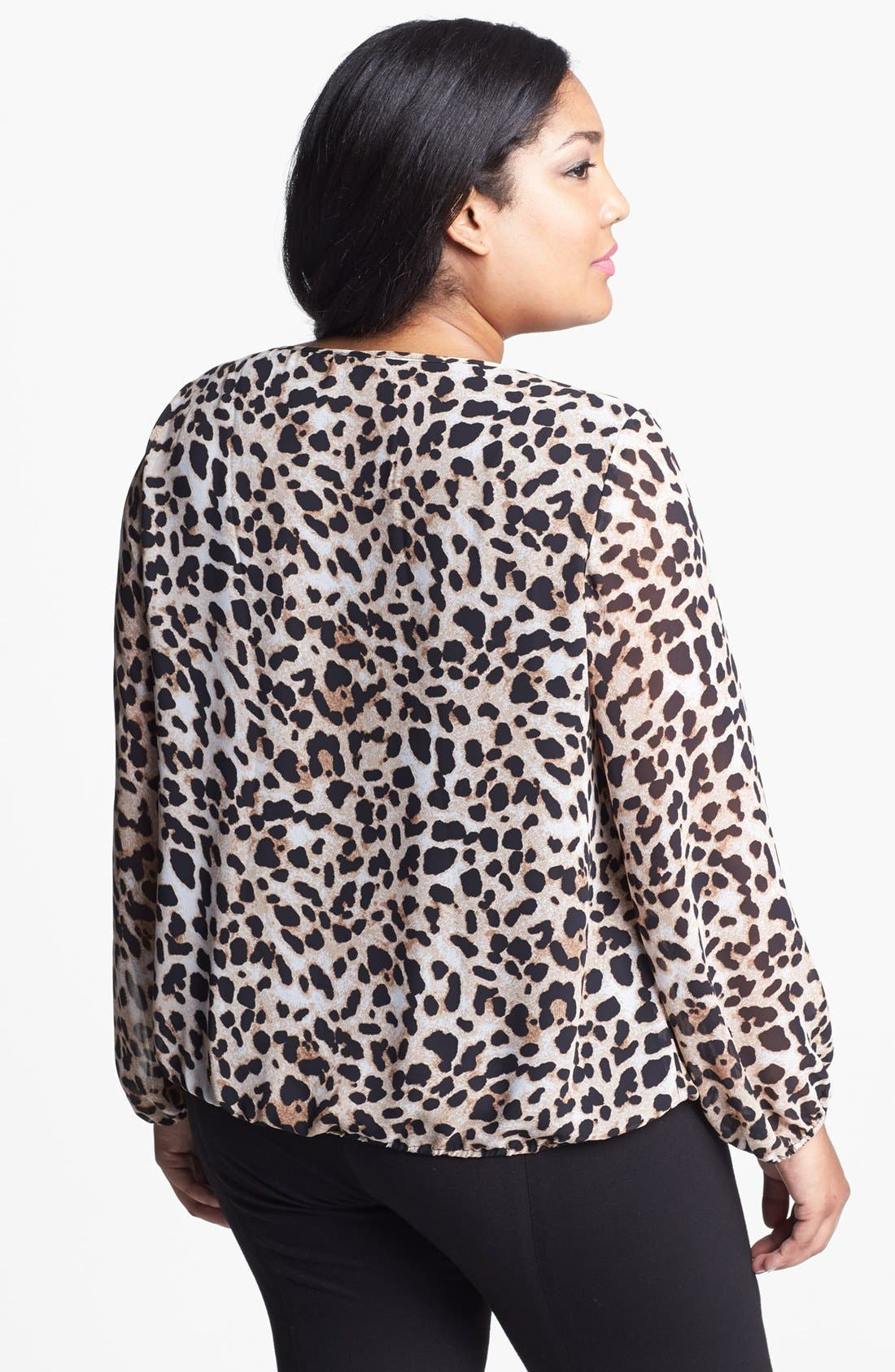 Alternate Image 2  - Vince Camuto Animal Print Wrap Front Blouse (Plus Size)