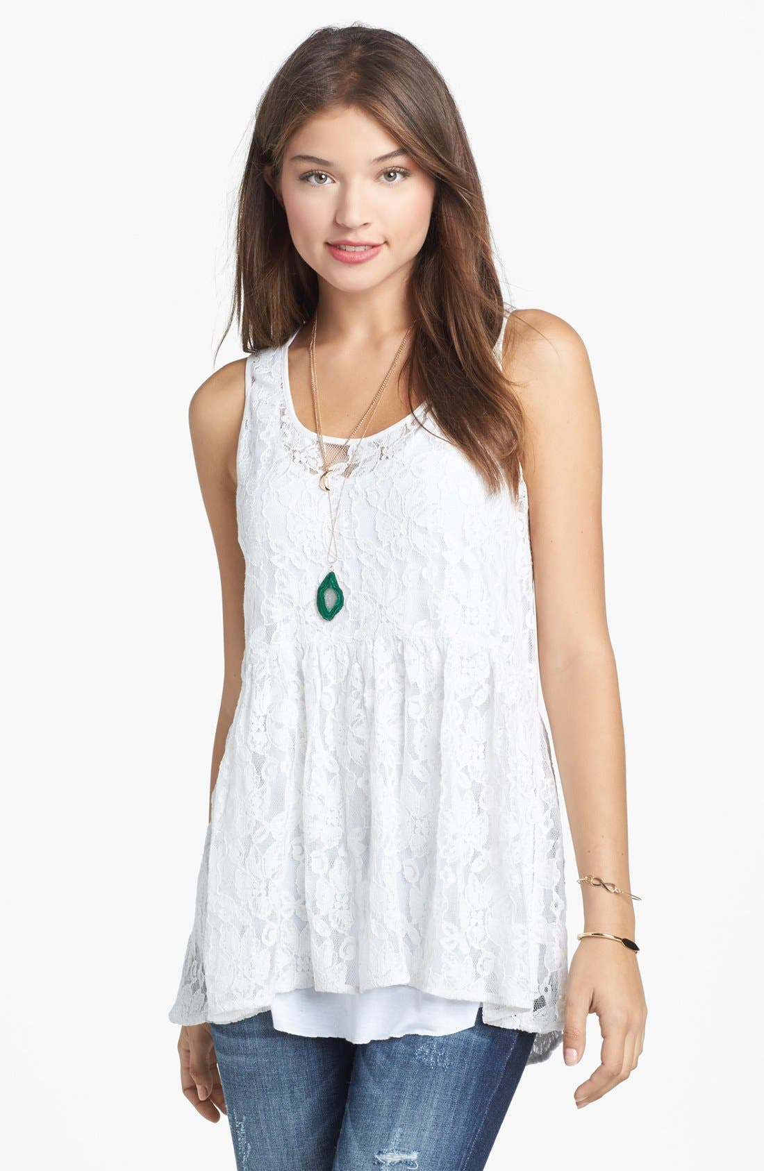 Alternate Image 1 Selected - Rubbish® Lace Babydoll Tank (Juniors)