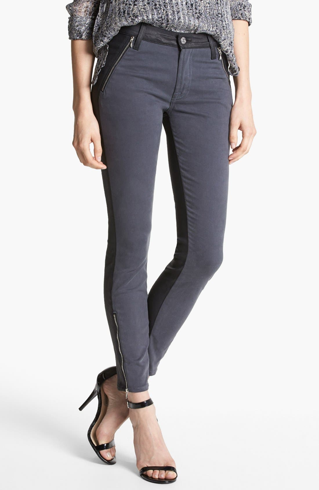 Alternate Image 1 Selected - 7 For All Mankind® 'Pieced' Contrast Back Skinny Jeans (Grey Jeather)