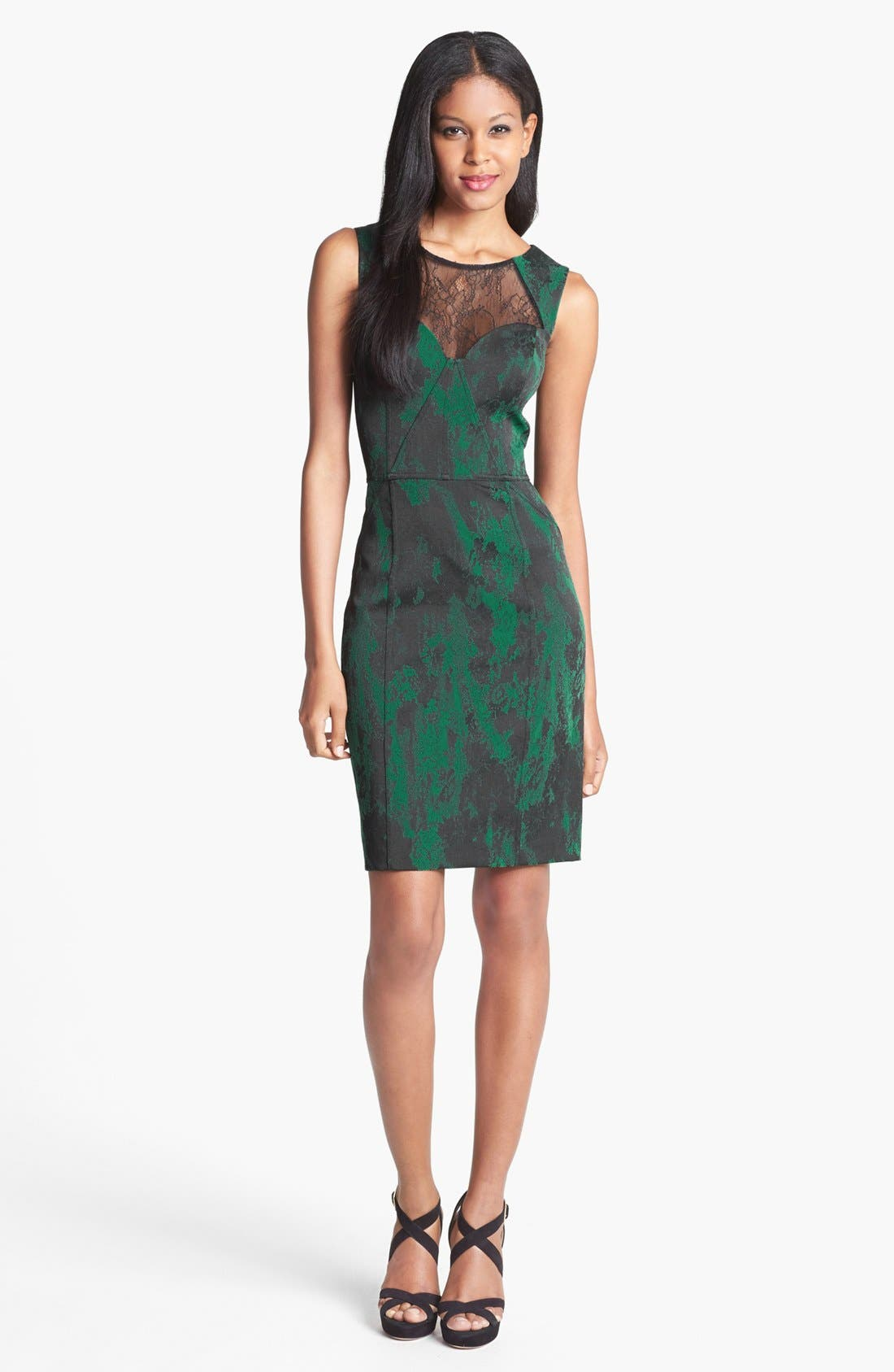 Alternate Image 1 Selected - Aidan Mattox Lace Neckline Jacquard Sheath Dress