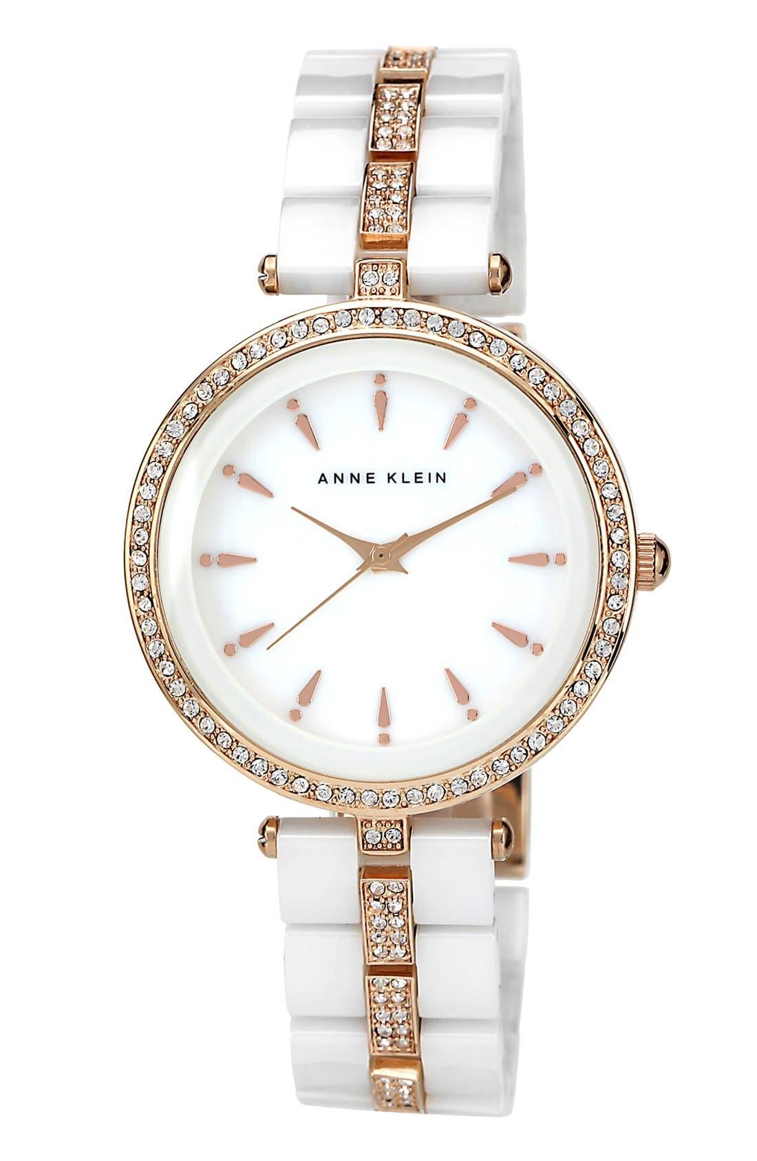 Alternate Image 1 Selected - Anne Klein Ceramic & Crystal Bracelet Watch, 35mm