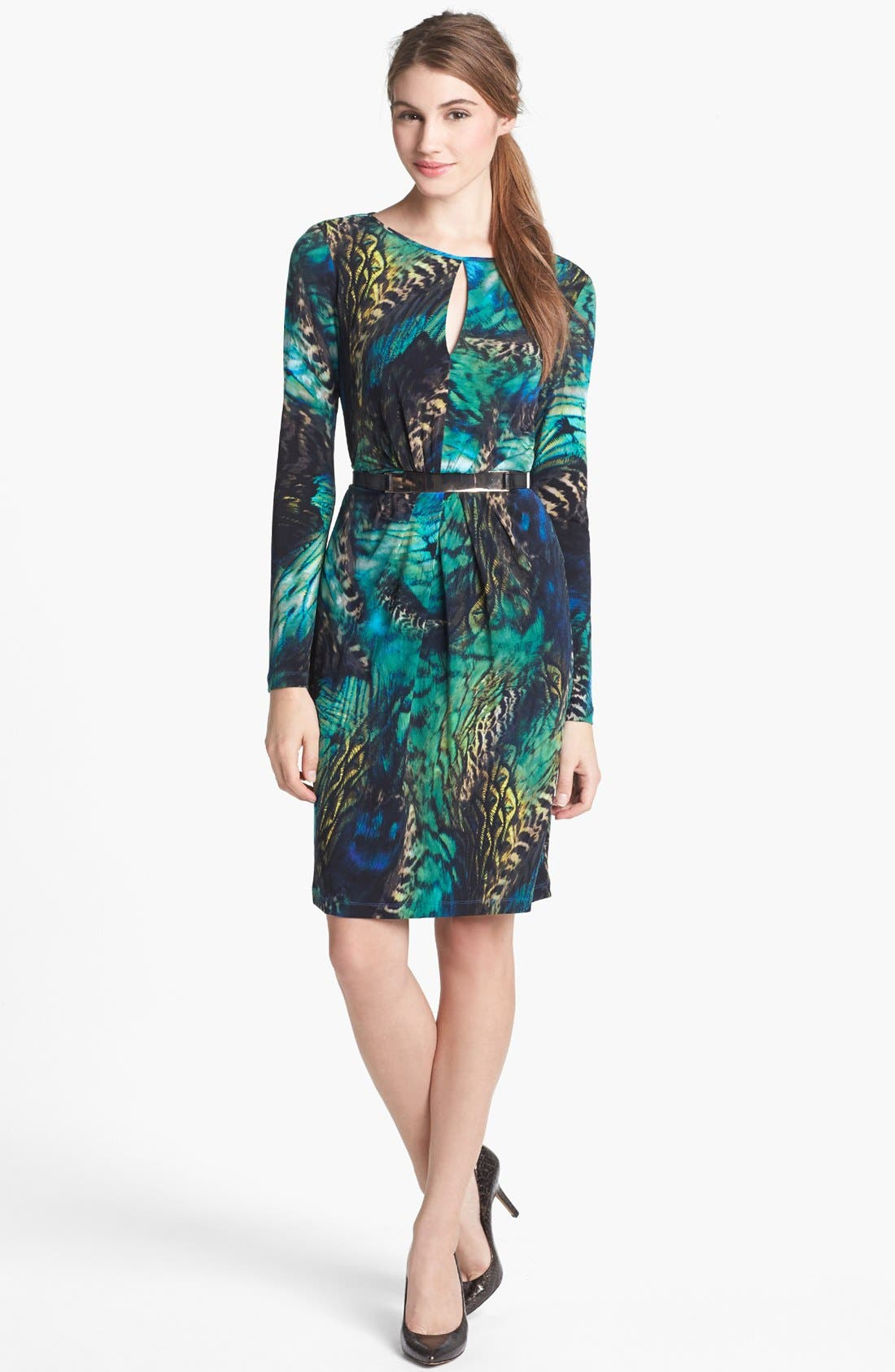 Main Image - Vince Camuto Belted Print Jersey Dress