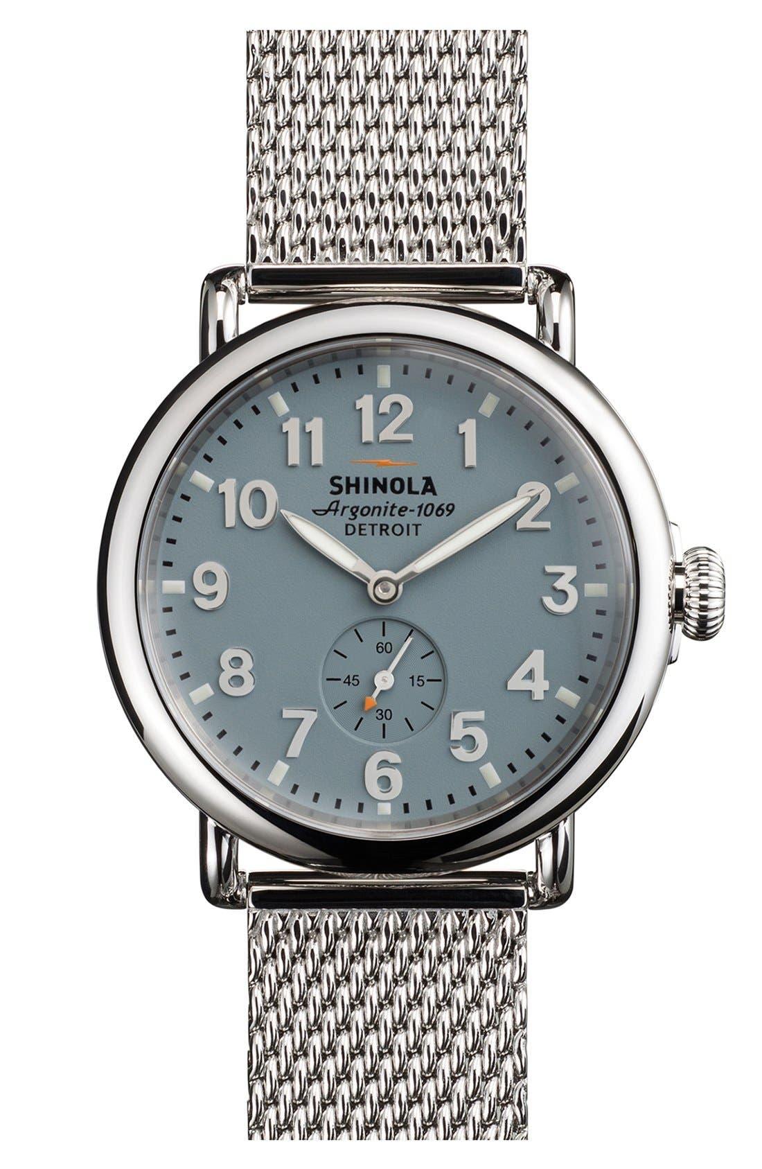 Alternate Image 1 Selected - Shinola 'The Runwell' Mesh Band Watch, 41mm