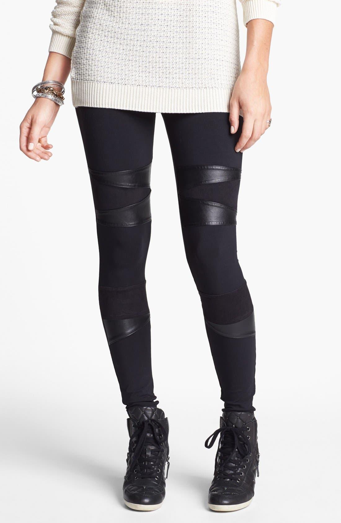 Alternate Image 1 Selected - Rubbish® Faux Leather Inset Leggings (Juniors)