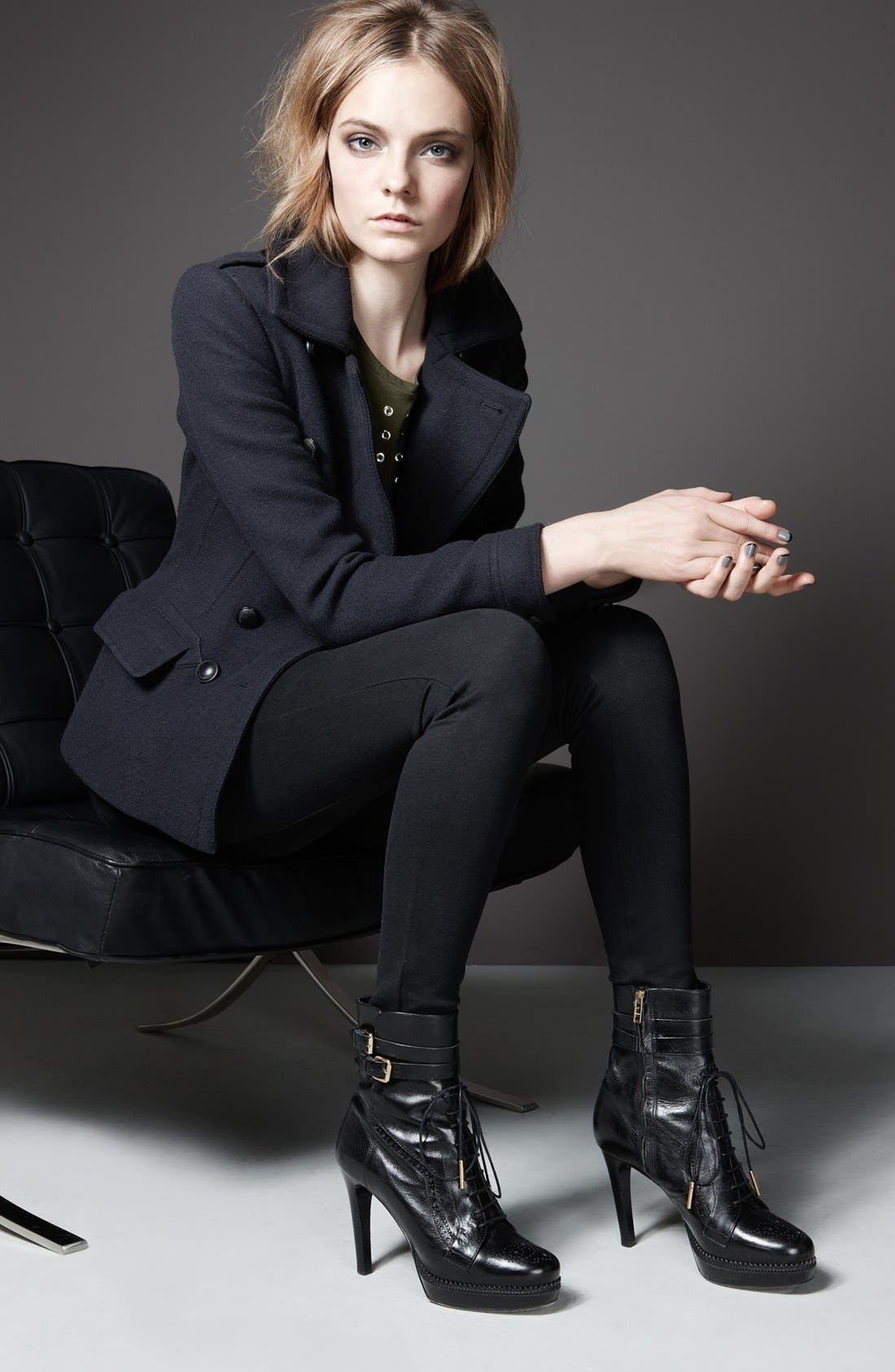 Alternate Image 6  - Burberry Brit Double Breasted Peacoat