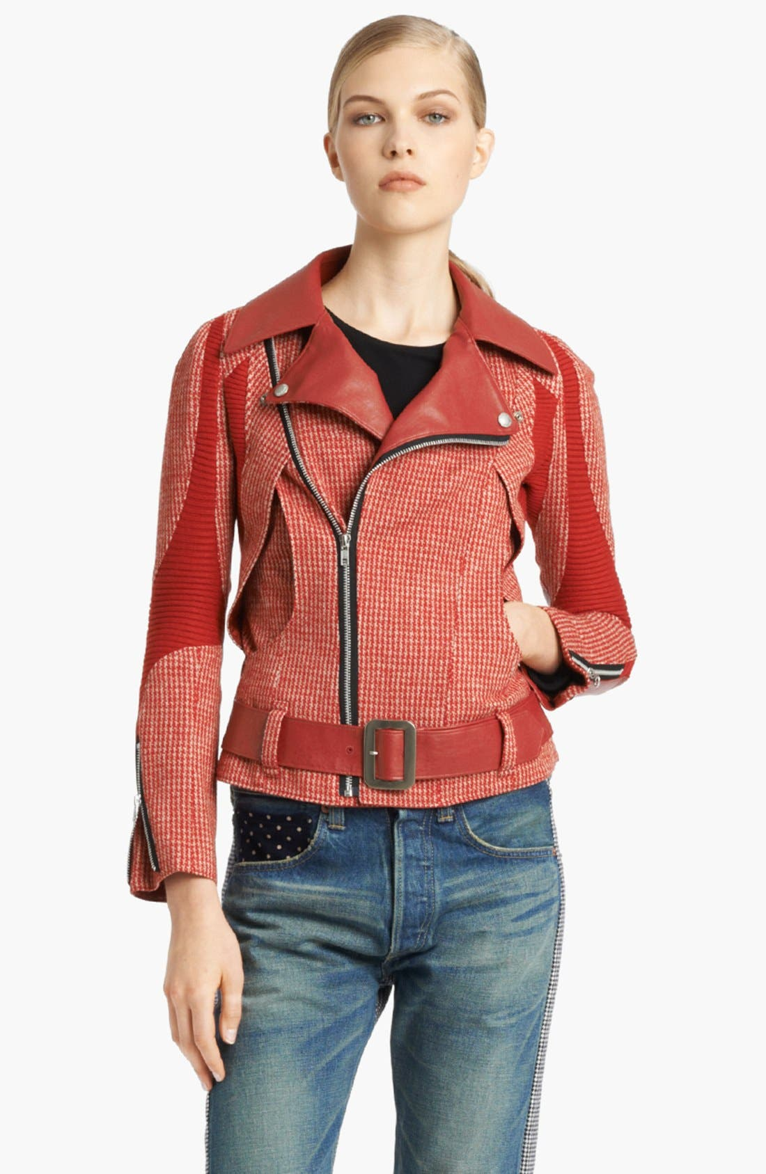 Main Image - Junya Watanabe Faux Leather Trim Houndstooth Biker Jacket