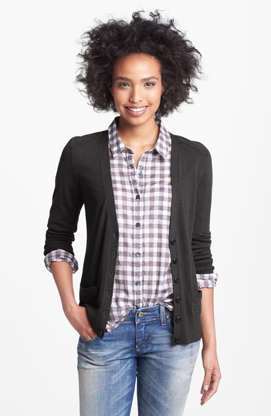 Alternate Image 1 Selected - Halogen® V-Neck Merino Wool Cardigan (Petite)
