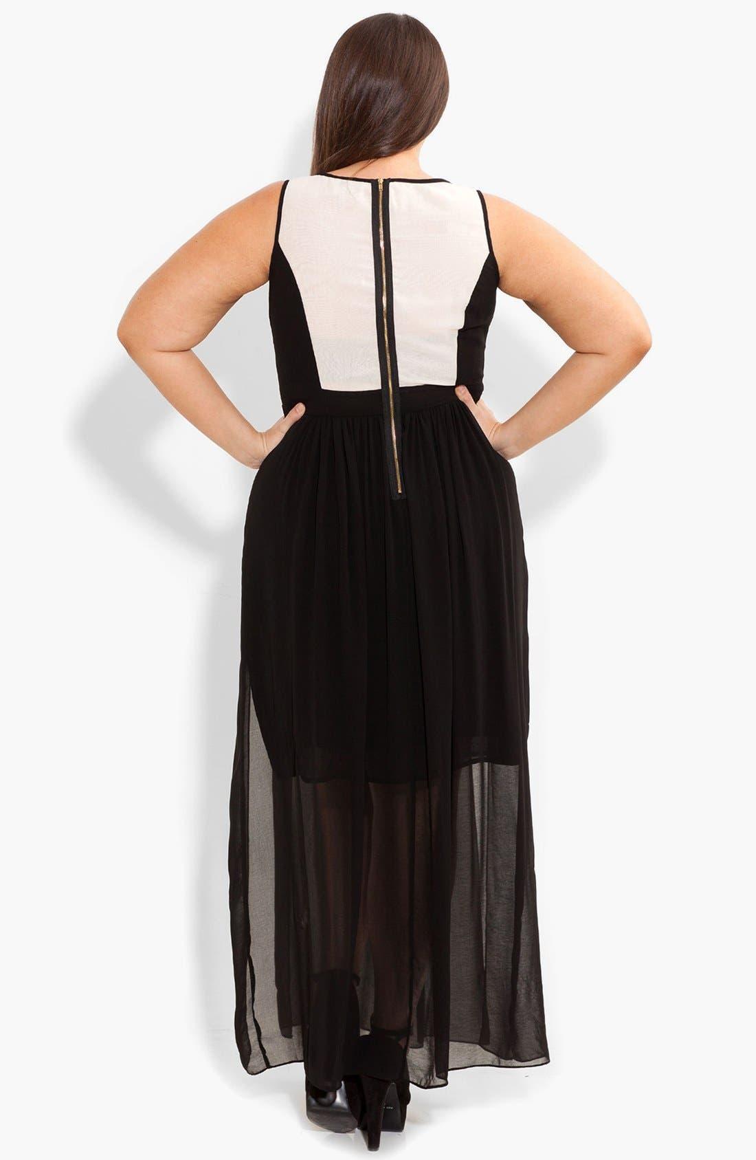 Alternate Image 2  - City Chic 'Sheer Romantic' Maxi Dress (Plus Size)
