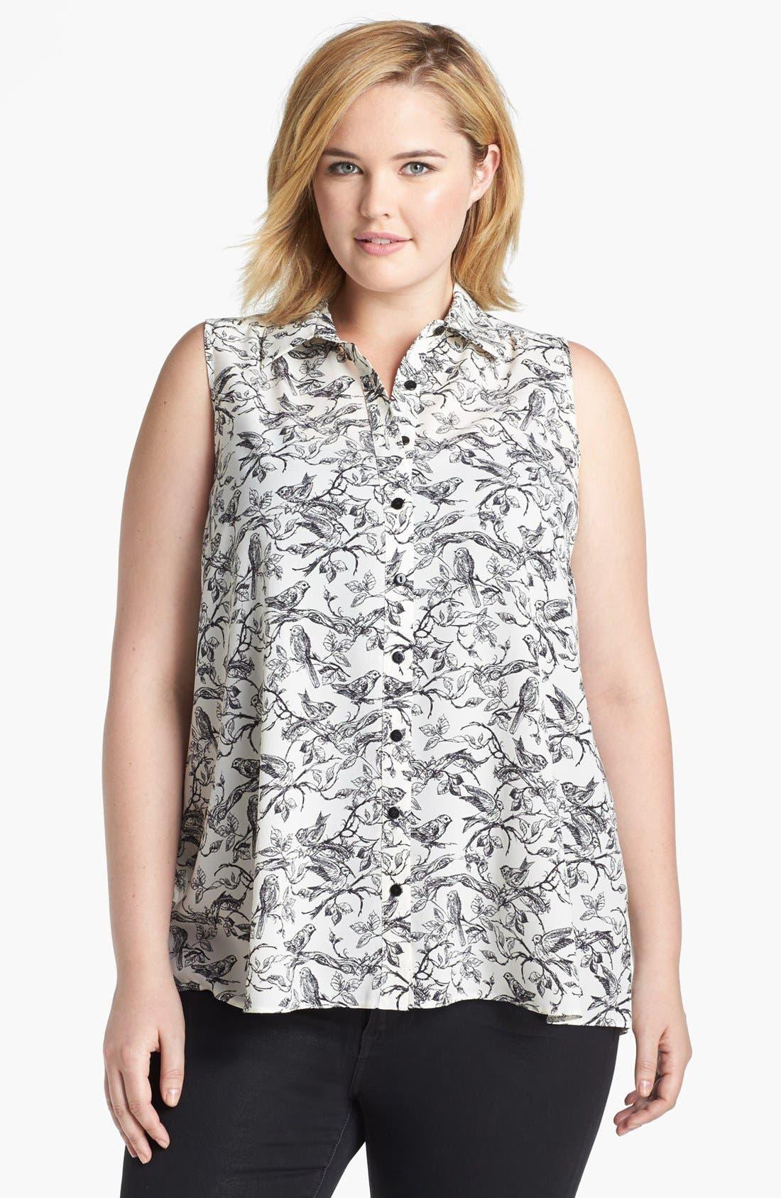 Alternate Image 1 Selected - Evans Bird Print Sleeveless Blouse (Plus Size)