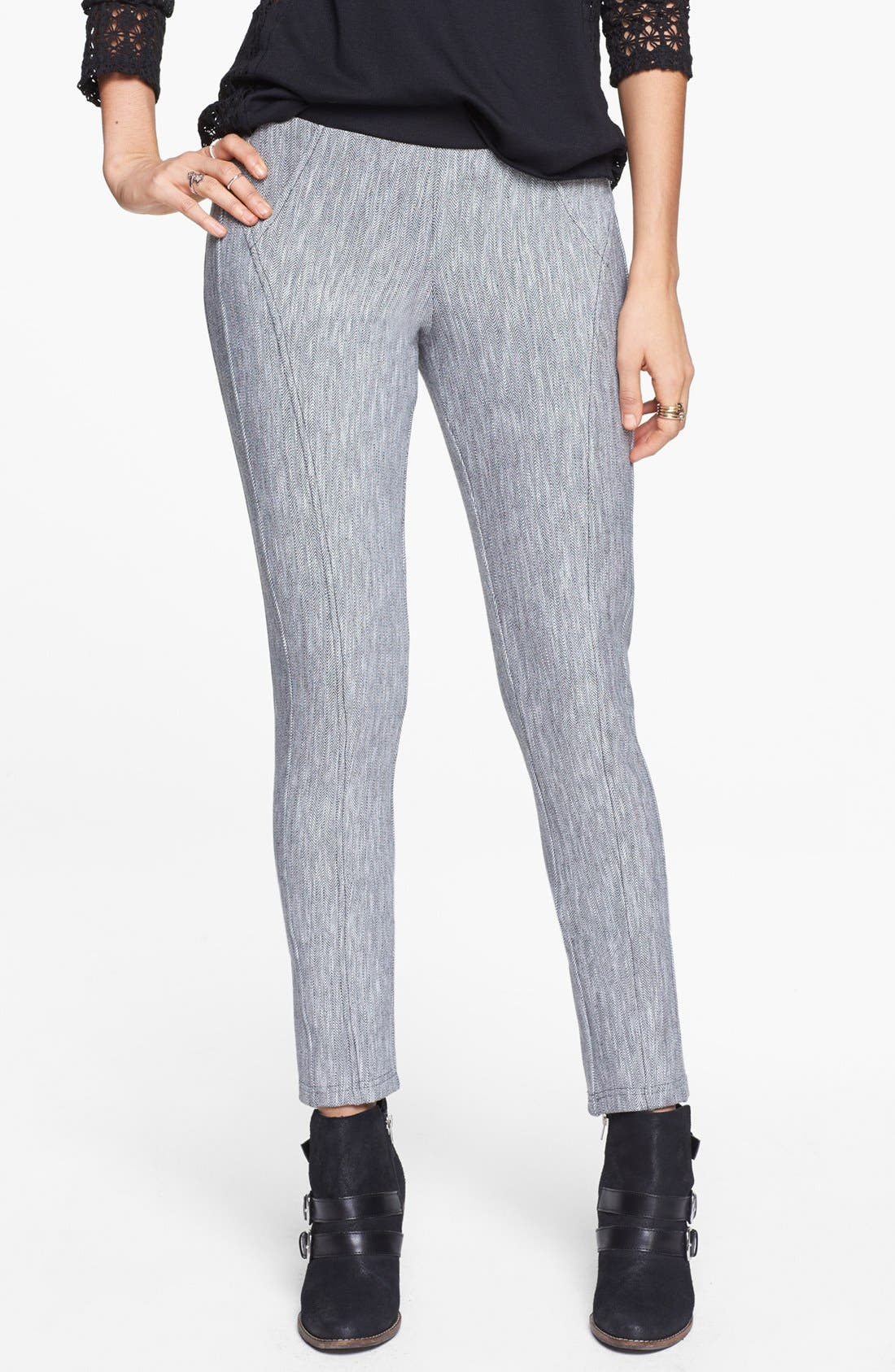 Alternate Image 1 Selected - Jolt Herringbone Moto Pants (Juniors)