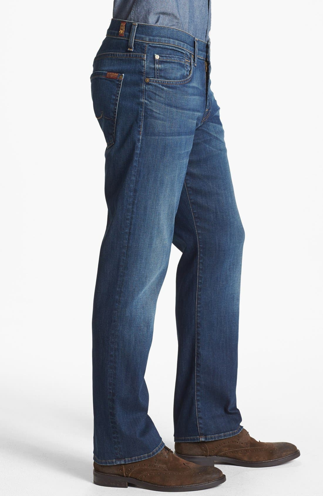 Alternate Image 3  - 7 For All Mankind® 'Carsen - Luxe Performance' Easy Straight Leg Jeans (Half Moon Blue)
