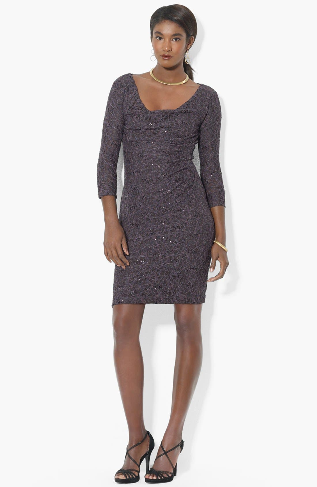 Alternate Image 1 Selected - Lauren Ralph Lauren Sequin Lace Sheath Dress