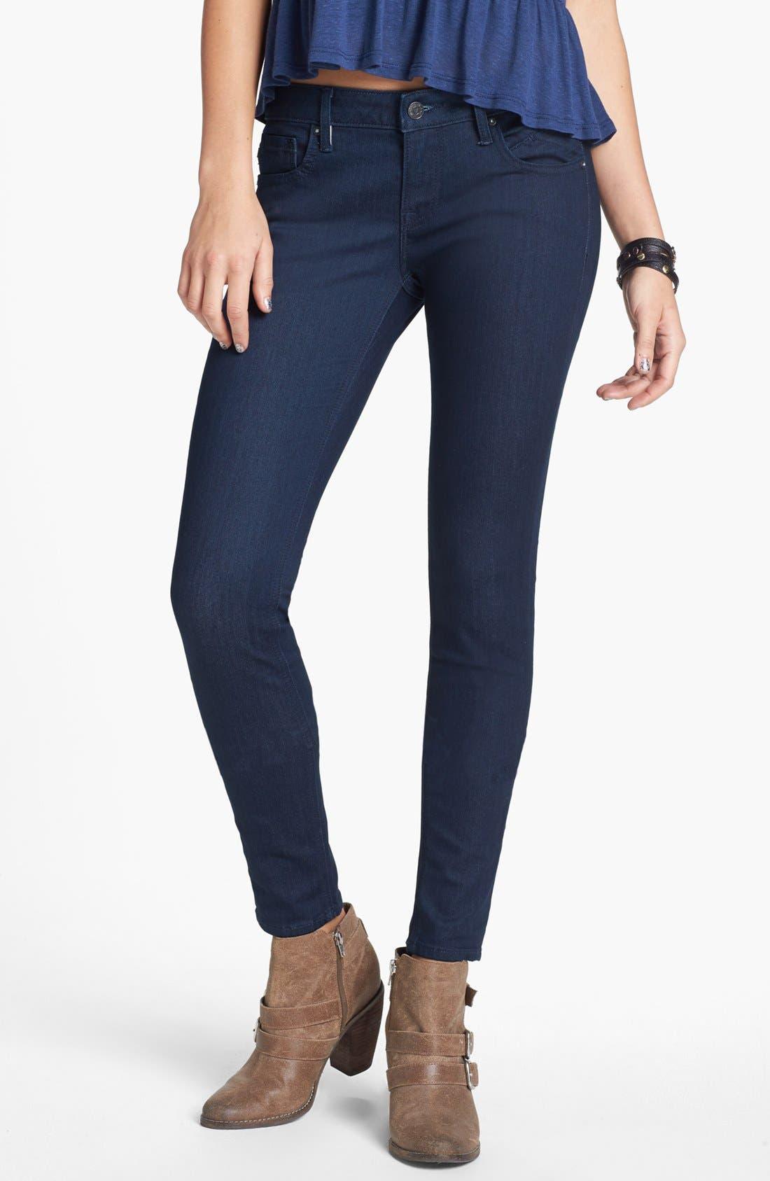 Alternate Image 1 Selected - Vigoss 'Chelsea' V Pocket Skinny Jeans (Dark Wash) (Juniors) (Online Only)