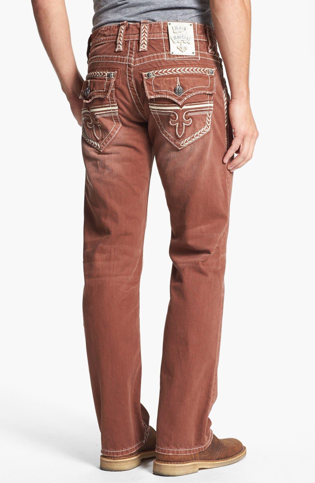 Alternate Image 1 Selected - Rock Revival 'Sebastian' Straight Leg Jeans (Brown)