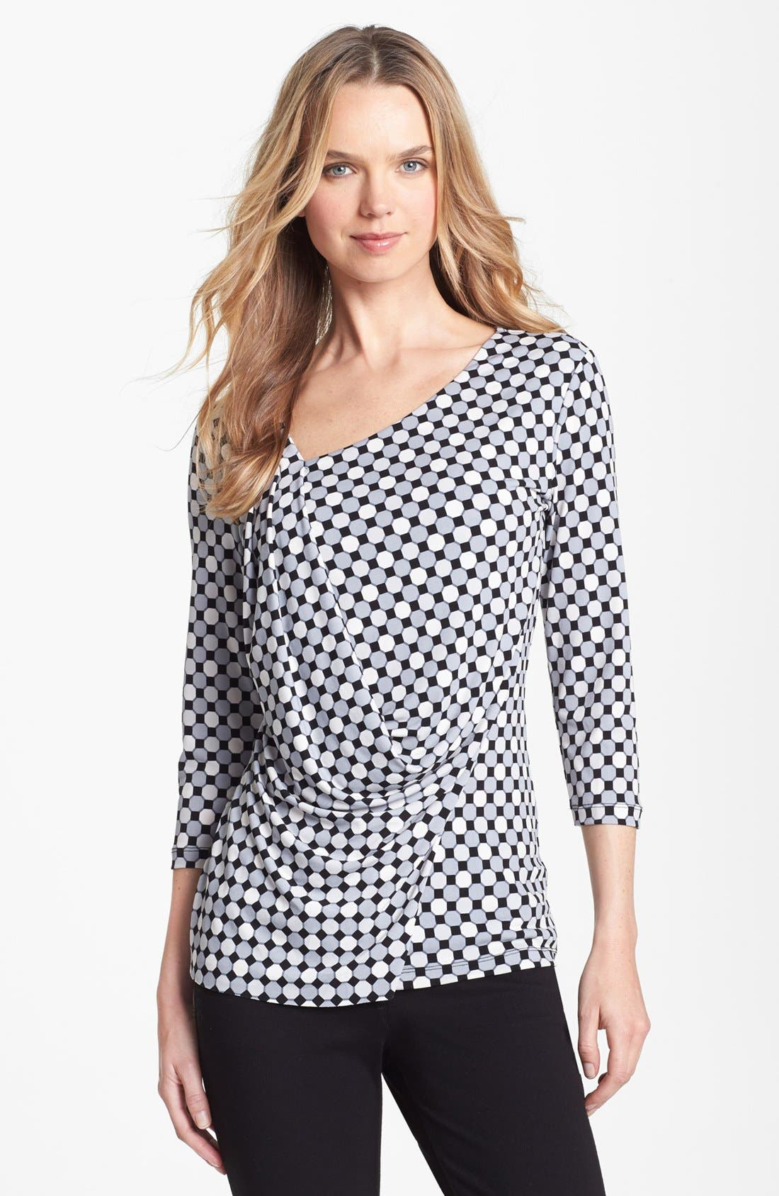 Alternate Image 1 Selected - Vince Camuto Geometric Print Side Drape Top