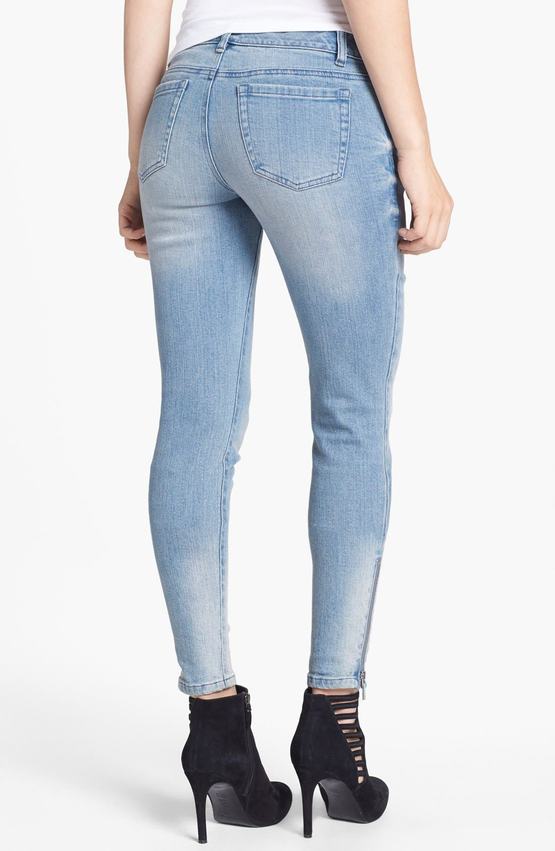 Alternate Image 2  - MICHAEL Michael Kors Zip Detail Skinny Jeans (Village Blue)