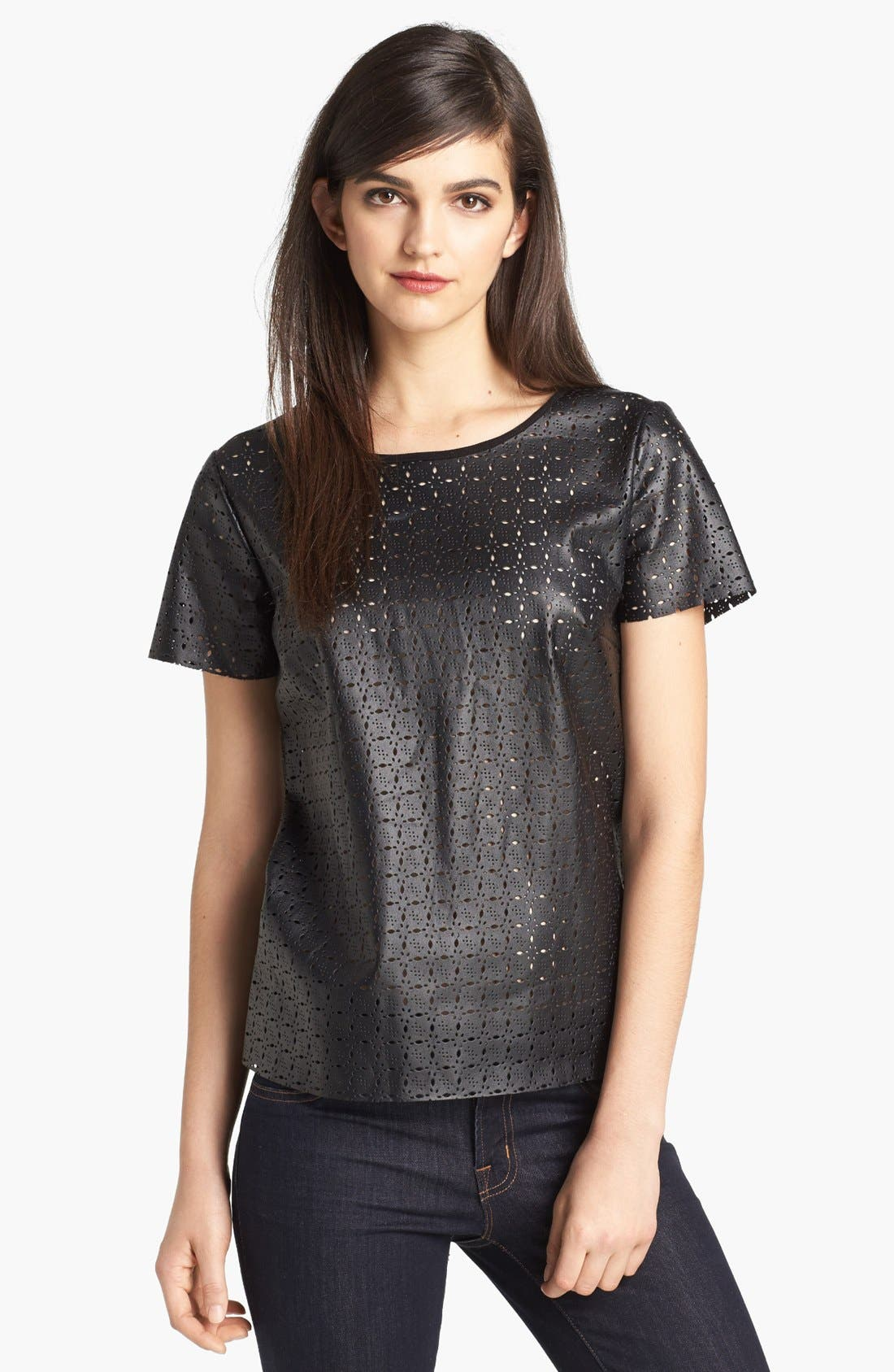 Alternate Image 1 Selected - Ella Moss Perforated Faux Leather Tee