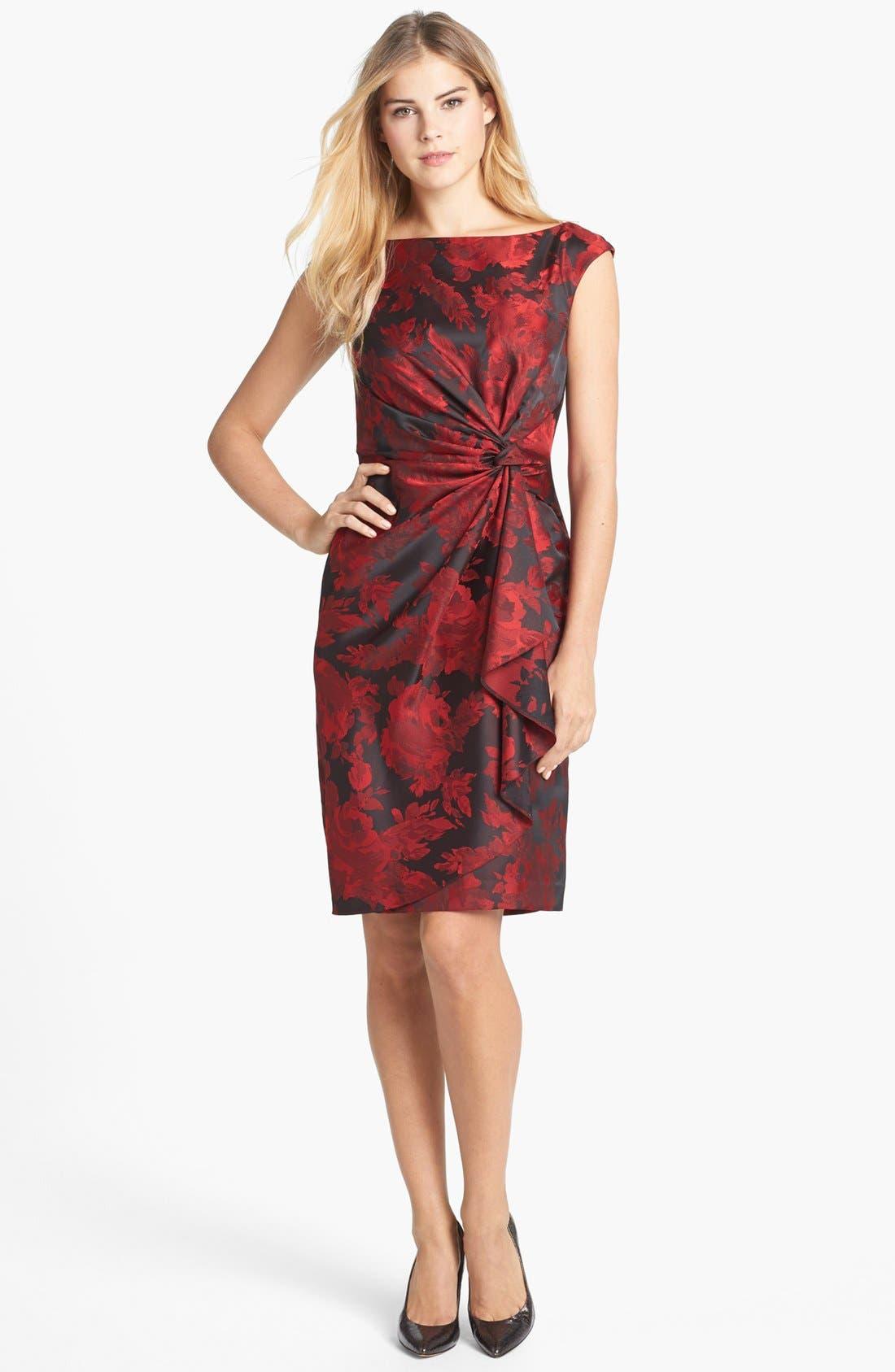 Main Image - Maggy London Side Drape Jacquard Sheath Dress