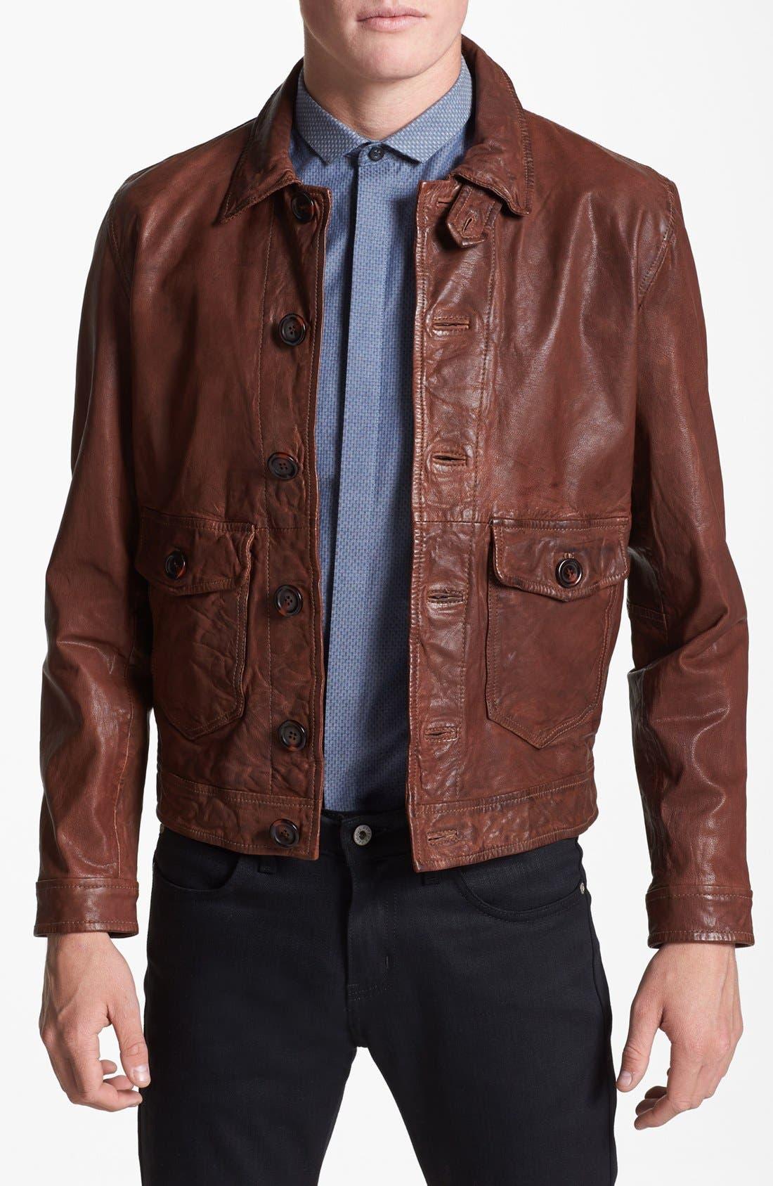 Main Image - Topman Vintage Leather Jacket