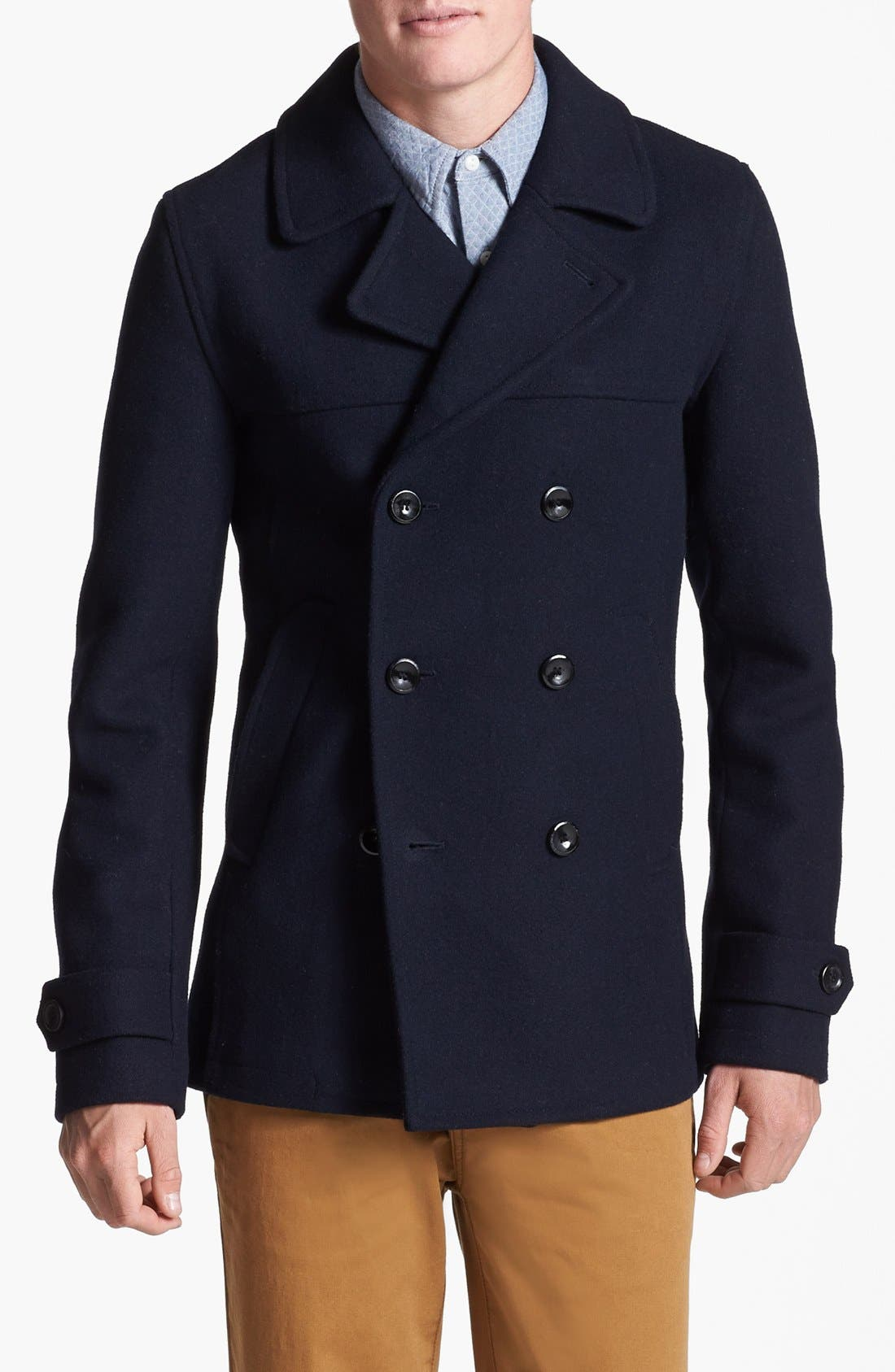 Main Image - Topman Skinny Fit Double Breasted Wool Blend Peacoat