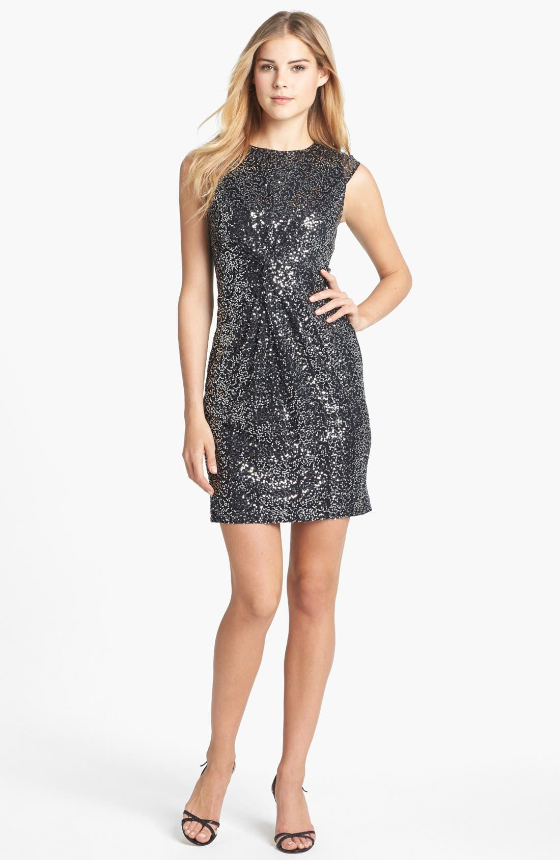 Main Image - Vince Camuto Knot Front Sequin Mesh Dress