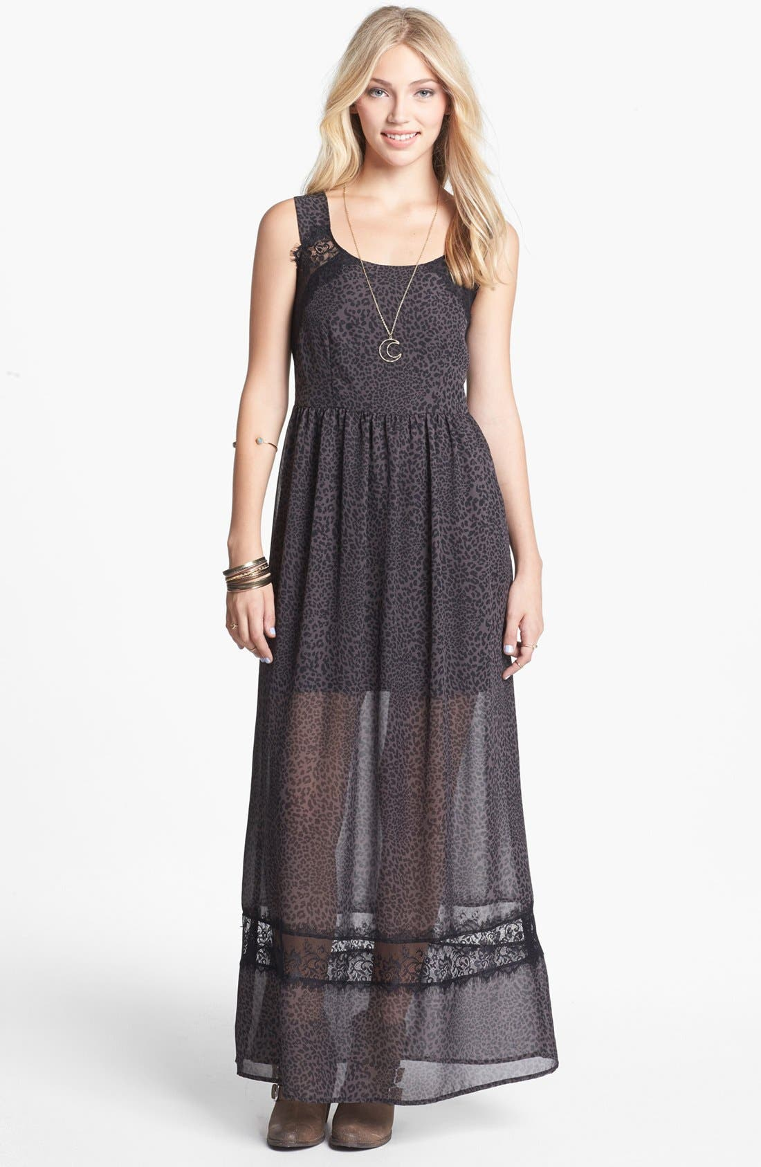 Main Image - Mimi Chica Lace Inset Print Maxi Dress (Juniors)