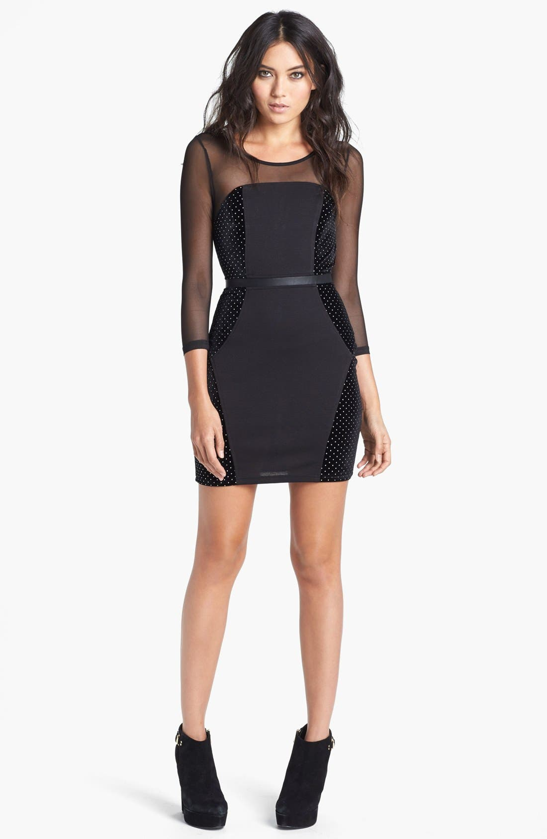 Main Image - MINKPINK 'Roller Disco' Mixed Media Body-Con Dress