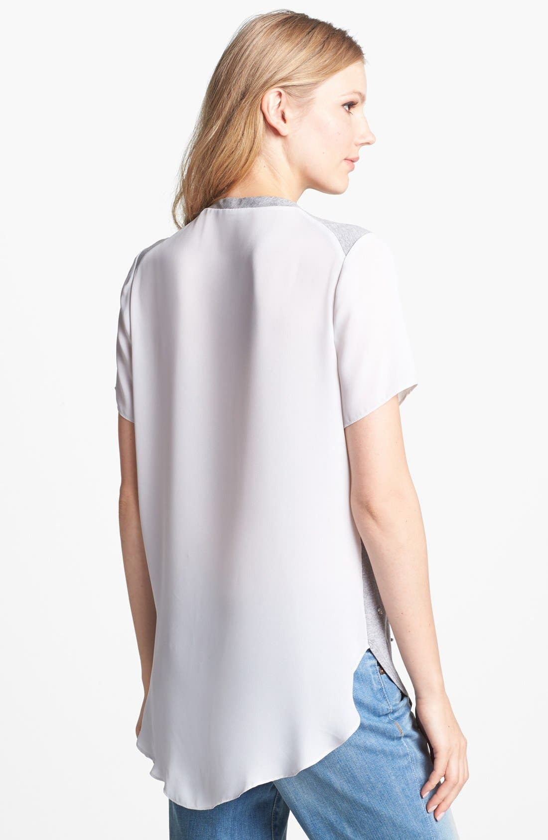 Alternate Image 2  - Vince Camuto Woven Back Embellished Tee