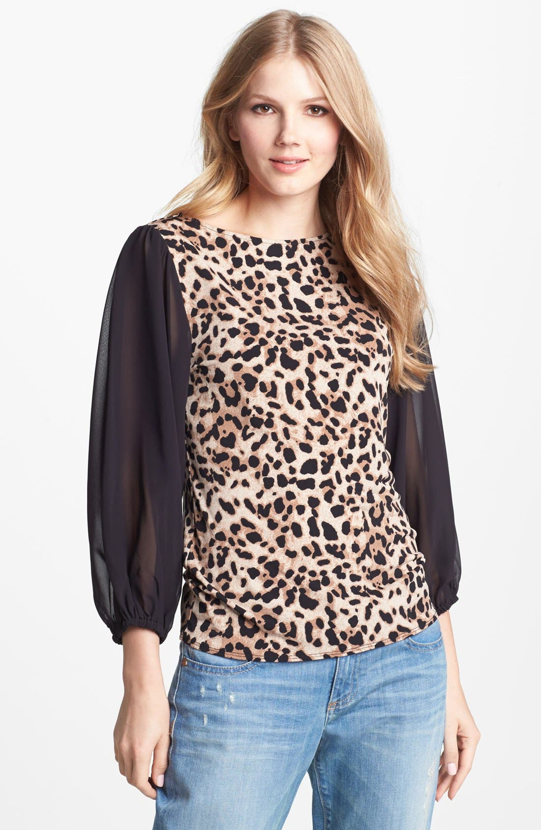 Alternate Image 1 Selected - Vince Camuto Chiffon Sleeve Print Top
