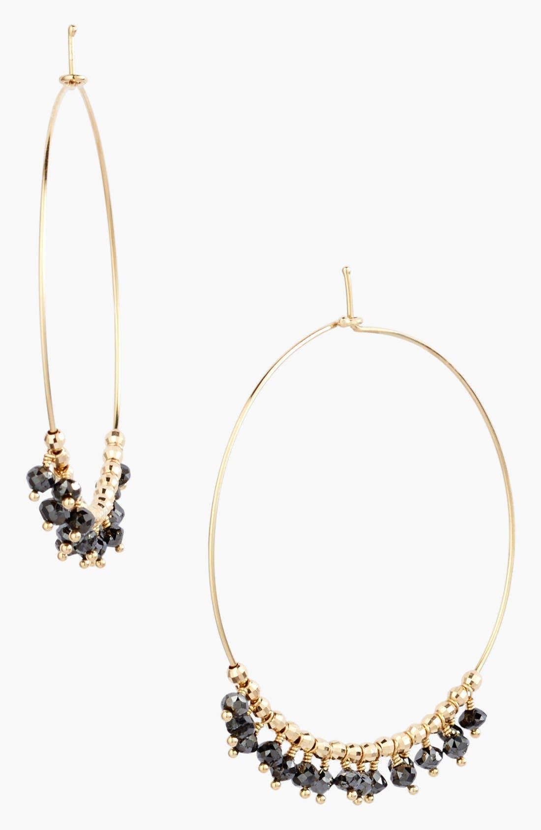 Main Image - Mizuki 'Cut Beads' Black Diamond Hoop Earrings