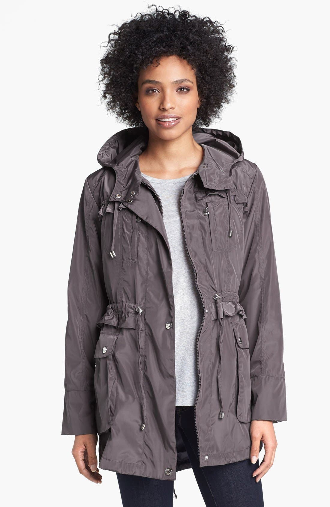 Alternate Image 1  - Betsey Johnson Ruffled Anorak