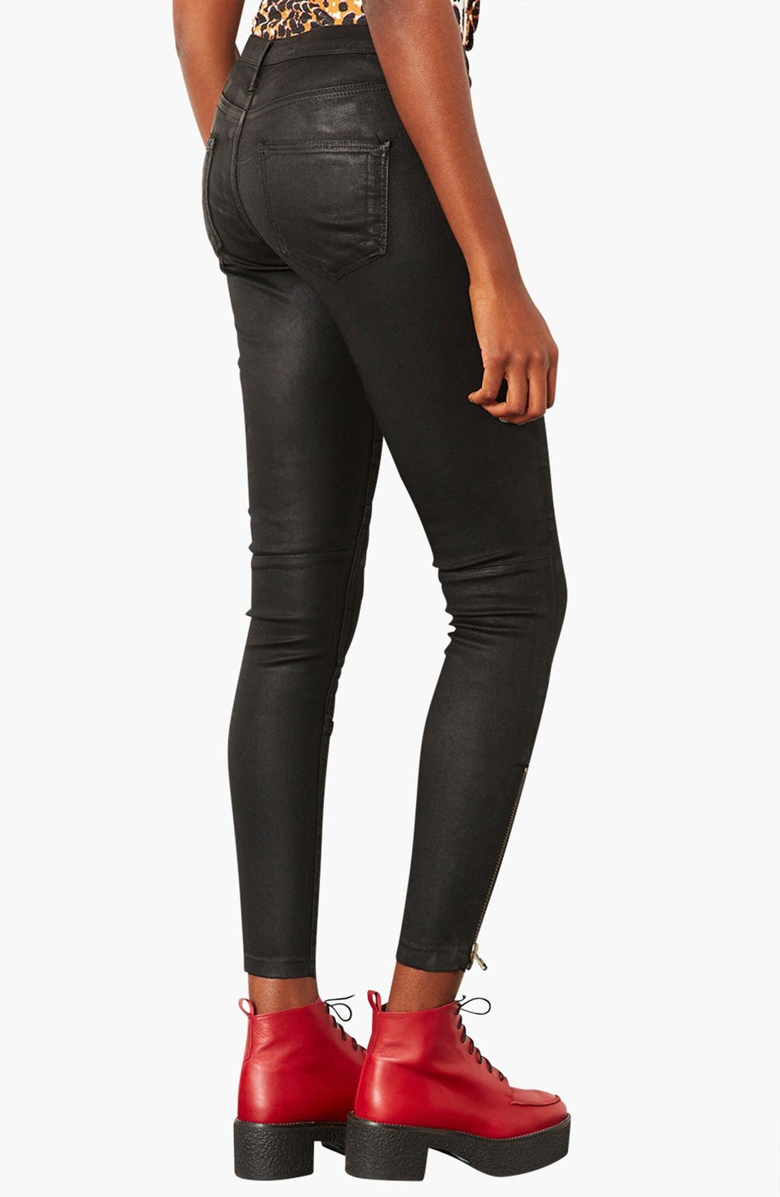 Alternate Image 2  - Topshop Moto Seamed Coated Skinny Jeans (Short)